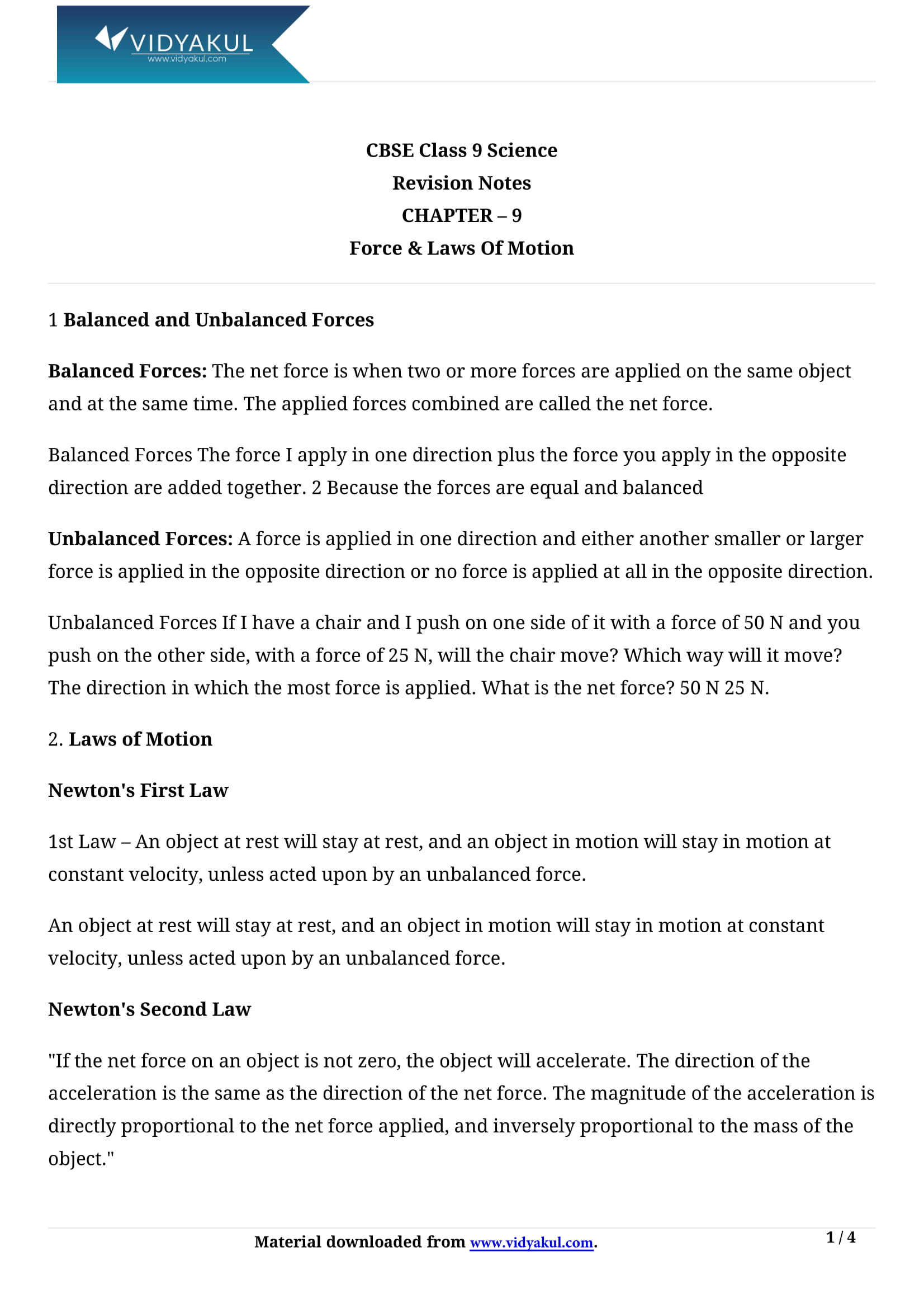 Force And Laws Of Motion Class 9 Pdf