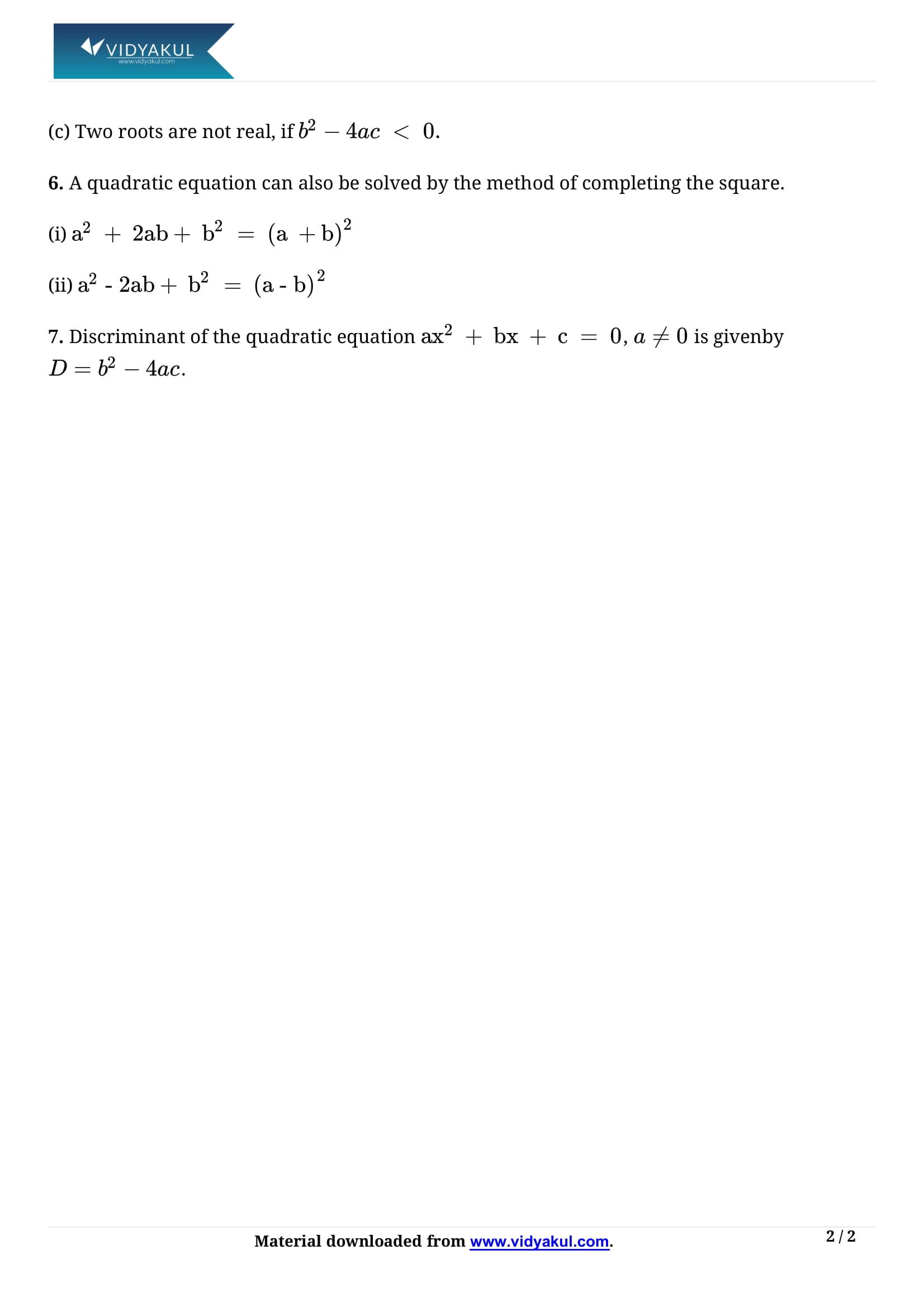 Quadratic Equations Class 10 Notes | Vidyakul