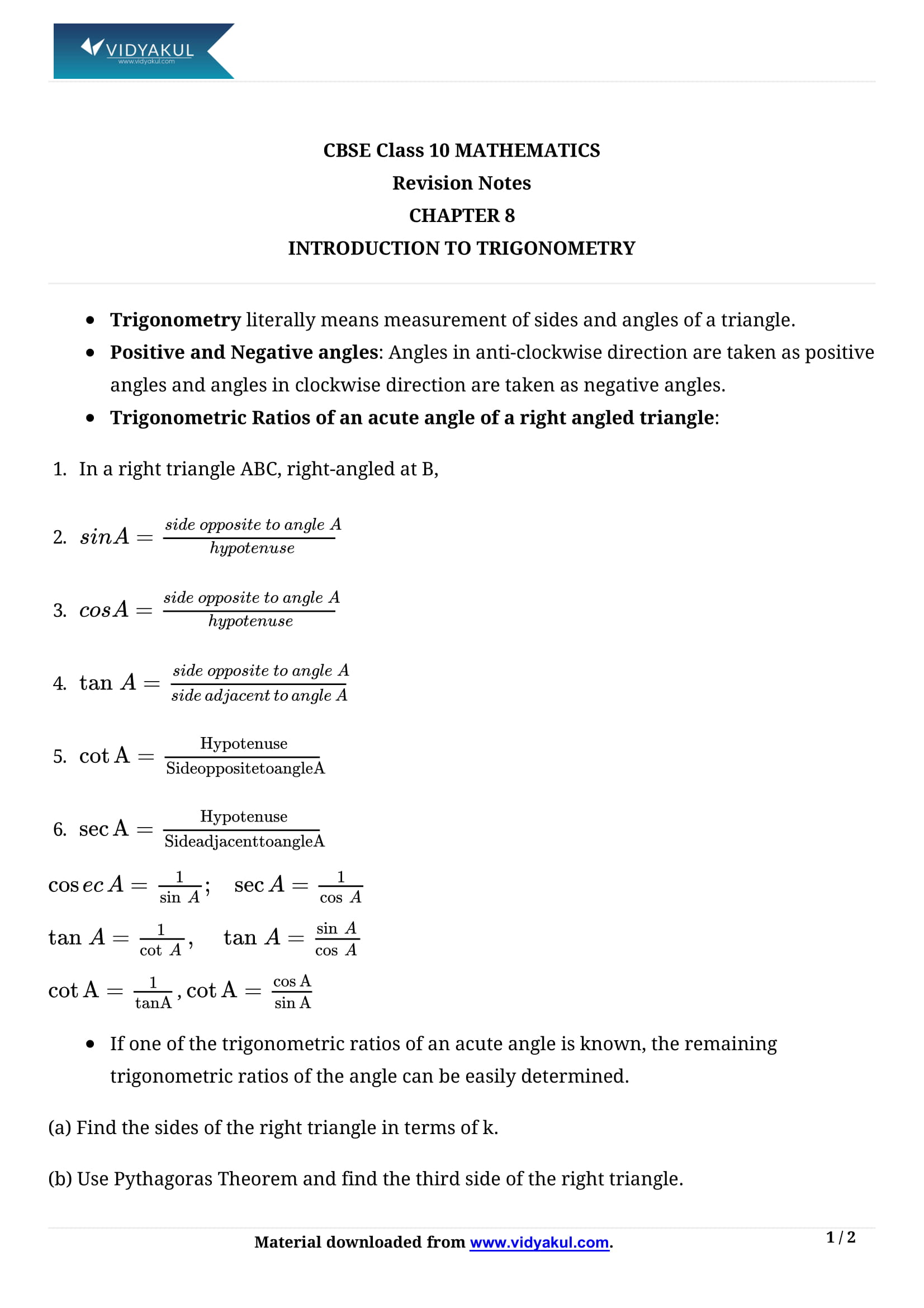 Introduction to Trigonometry Class 10 Notes | Vidyakul