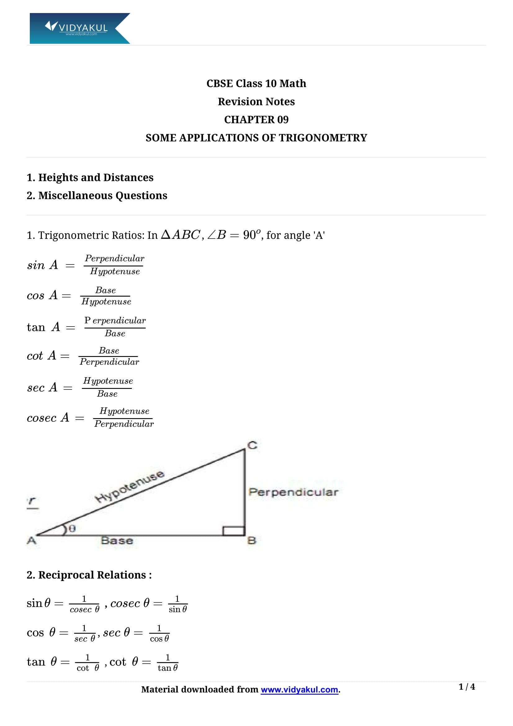 Some Applications of Trigonometry Class 10 Notes | Vidyakul