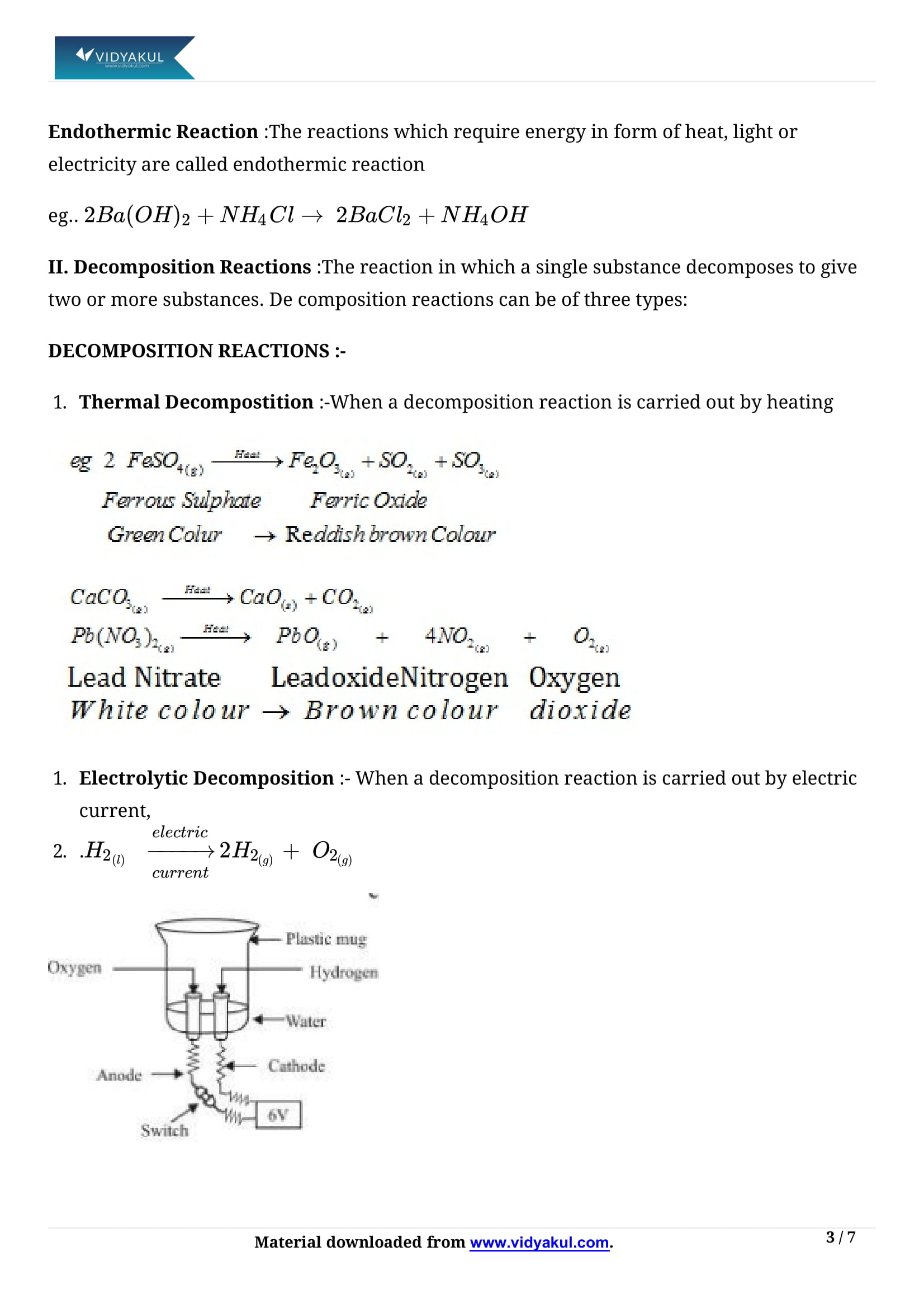 Chemical Reactions and Equations Class 10 Notes | Vidyakul