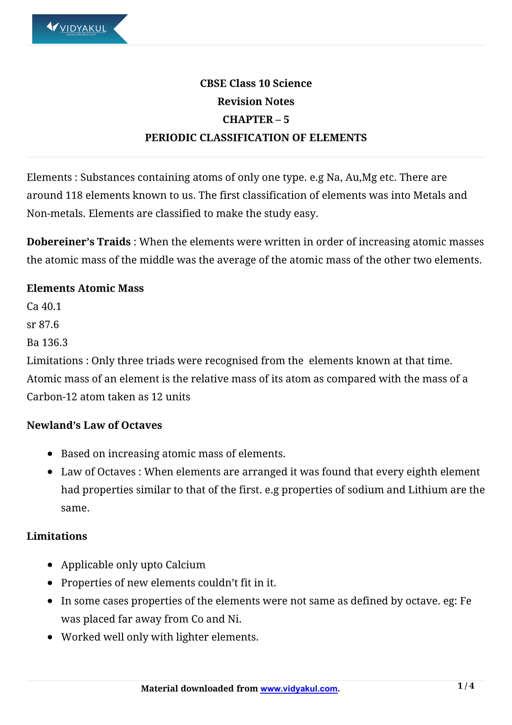 Periodic Classification of Elements Class 10 Notes | Vidyakul