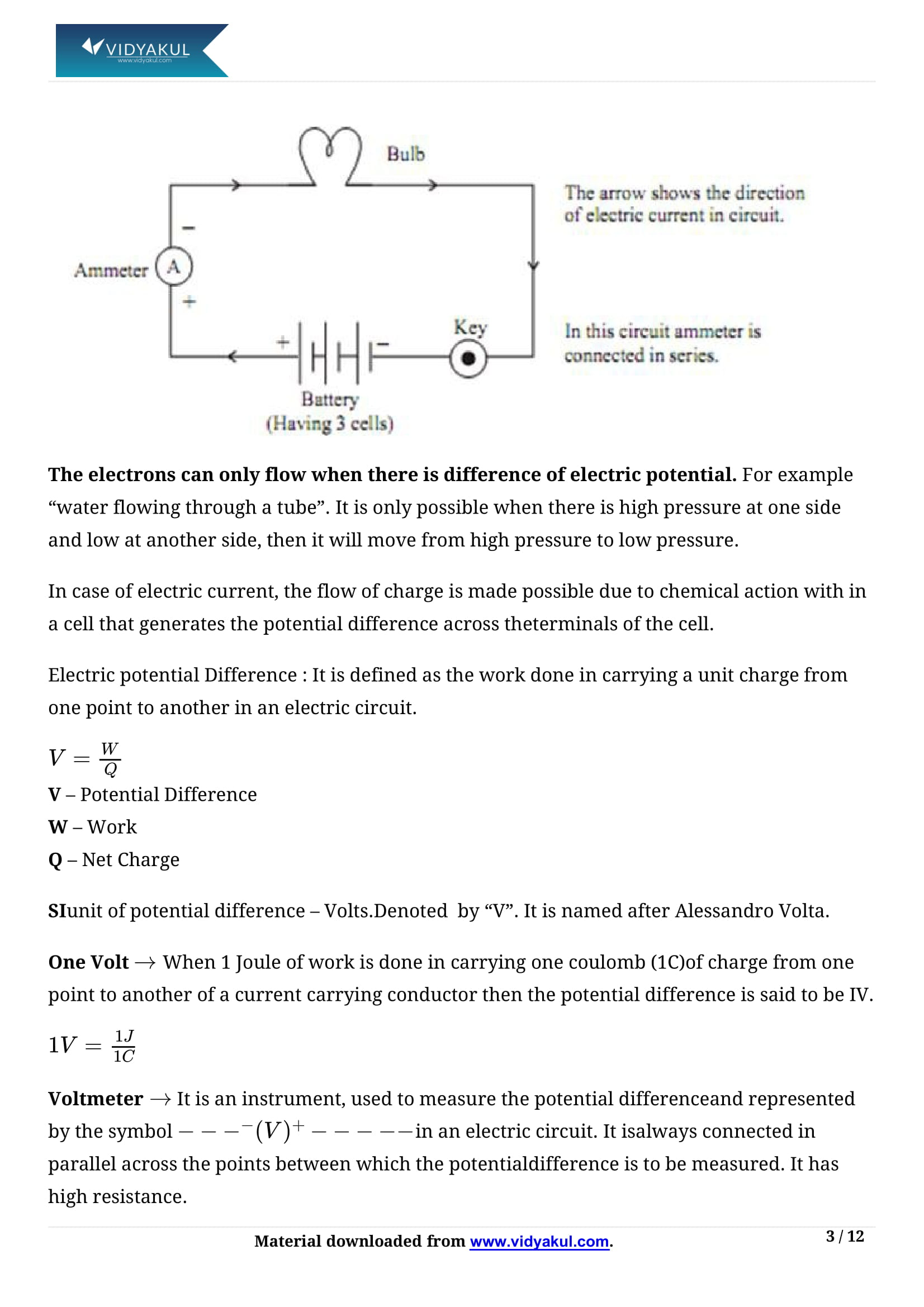 Electricity Class 10 Notes | Vidyakul