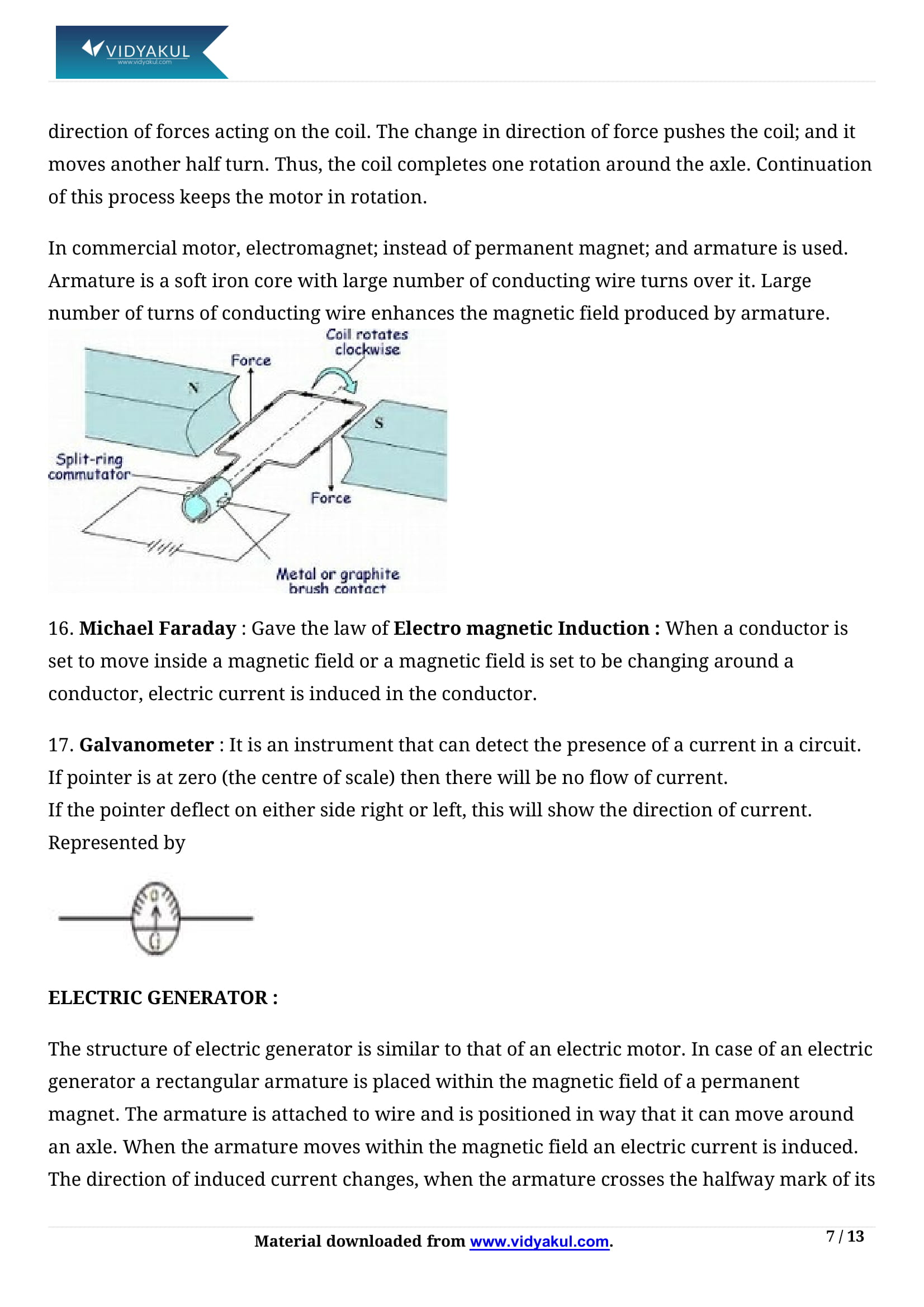 Magnetic Effects of Electric Current Class 10 Notes | Vidyakul