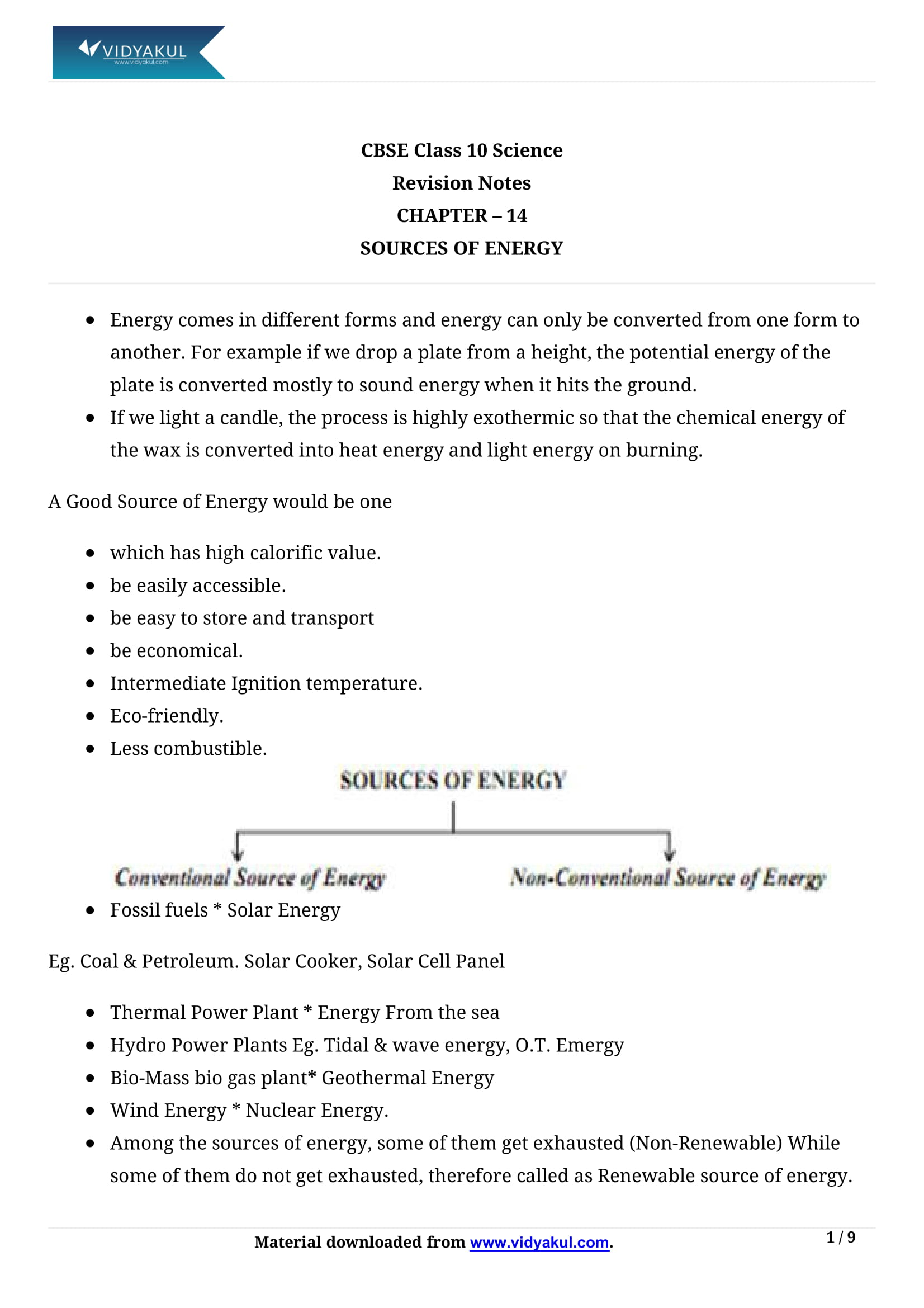 Sources of Energy Class 10 Notes | Vidyakul