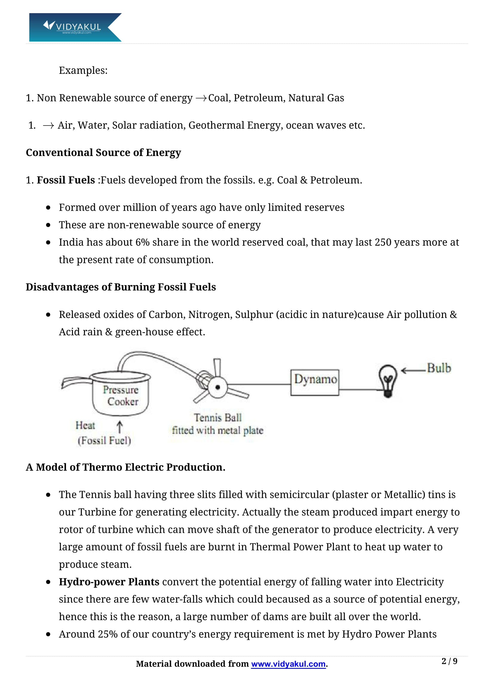 Sources of Energy Class 10 Notes   Vidyakul