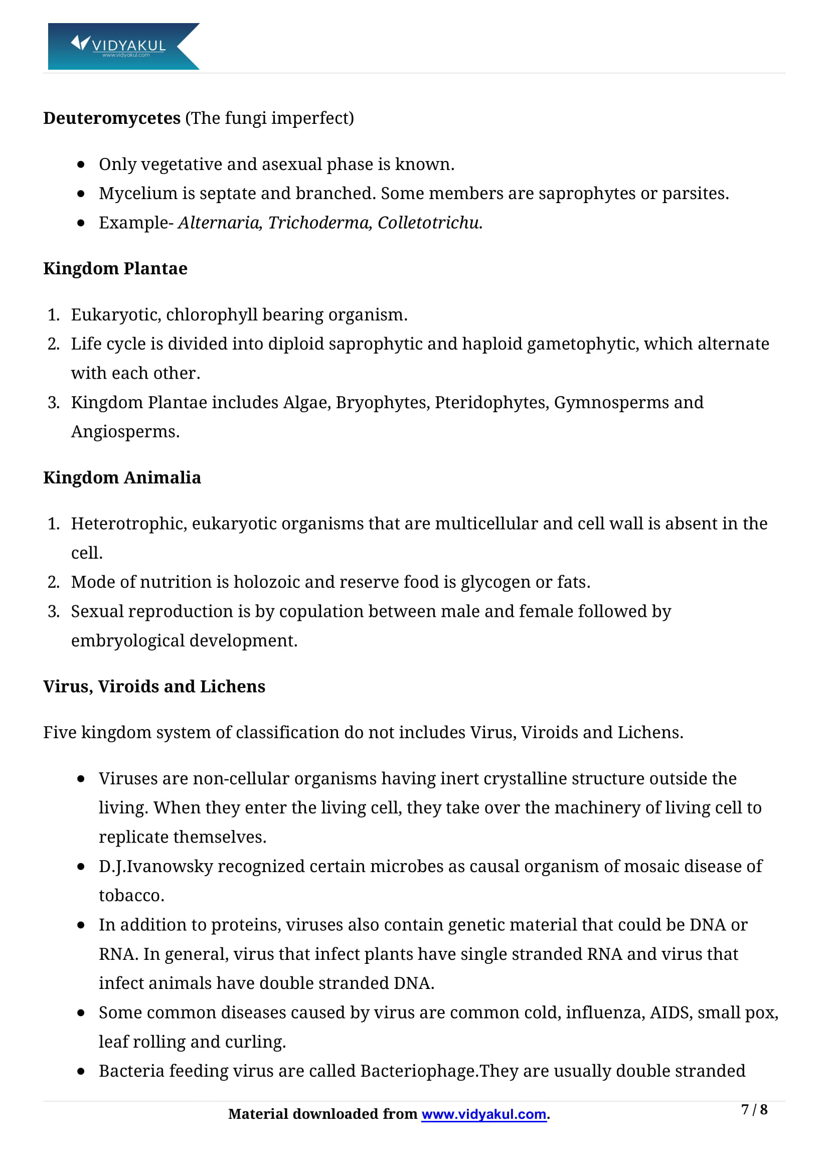 Biological Classification Class 11 Biology Notes Part - 7