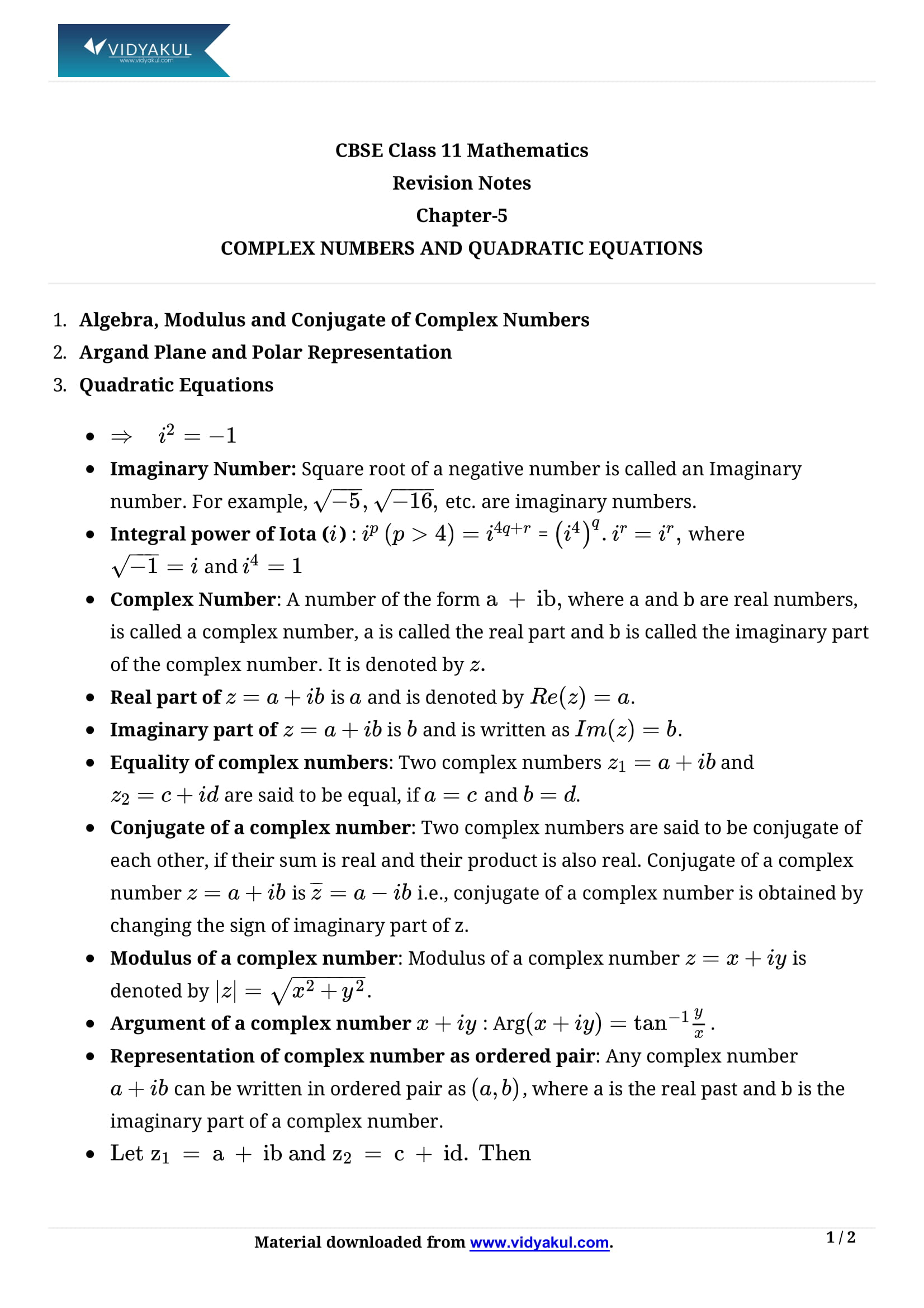 Complex Numbers and Quadratic Equations Class 11 Notes | Vidyakul
