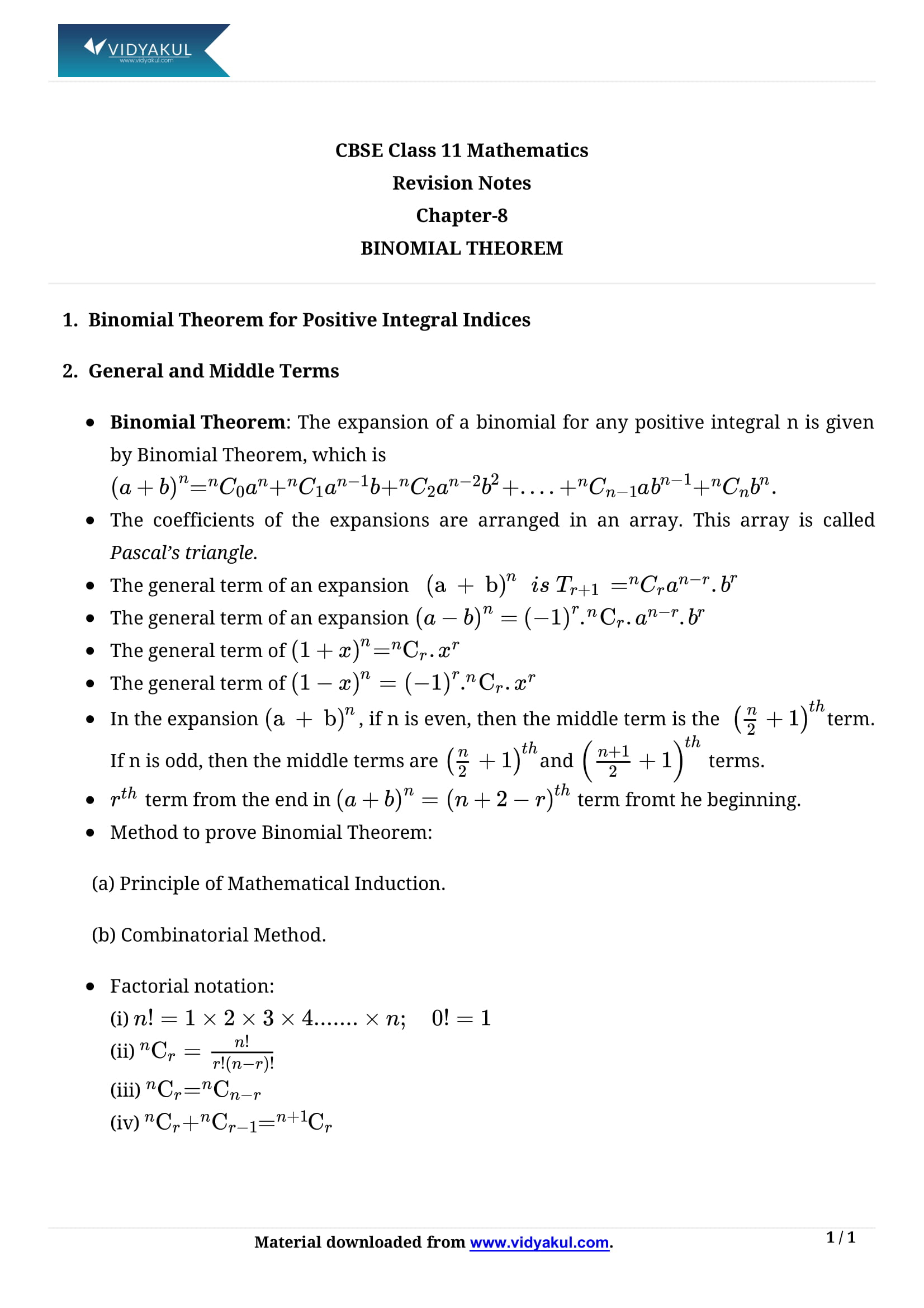 Worksheet Binomial Theorem Worksheet binomial theorem class 11 formulas notes vidyakul