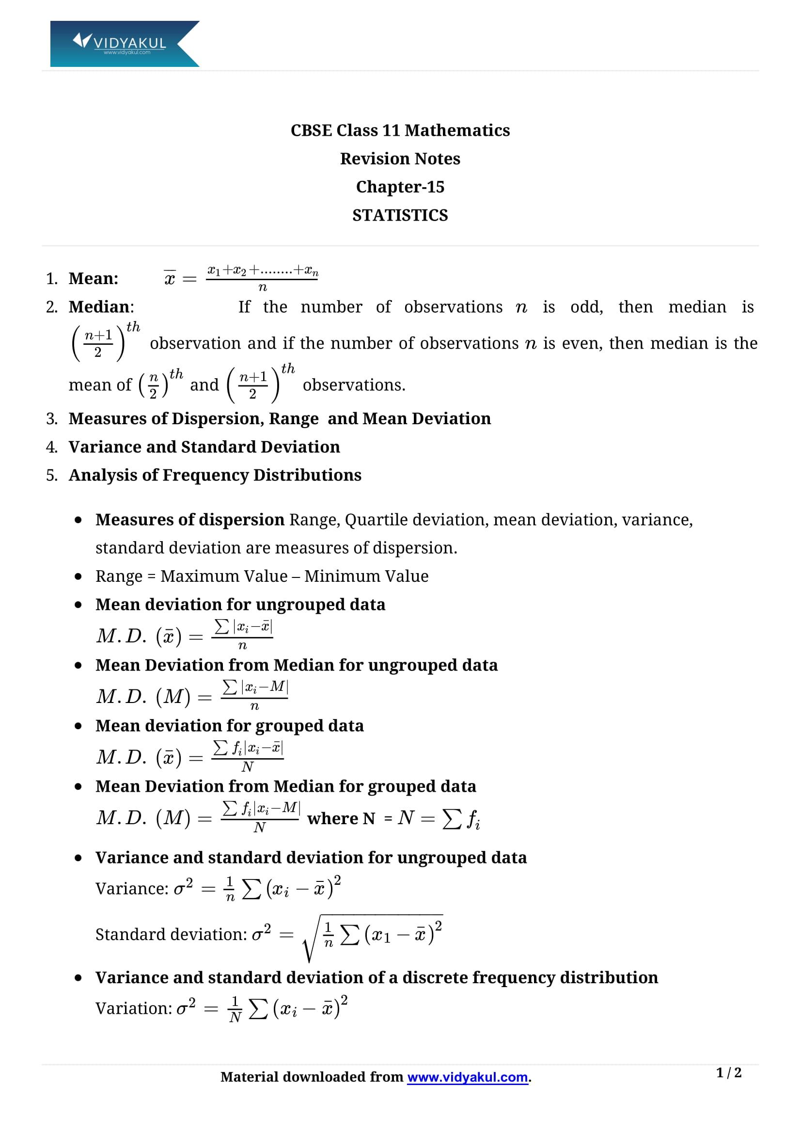 Statistics Class 11 Formulas & Notes   Vidyakul