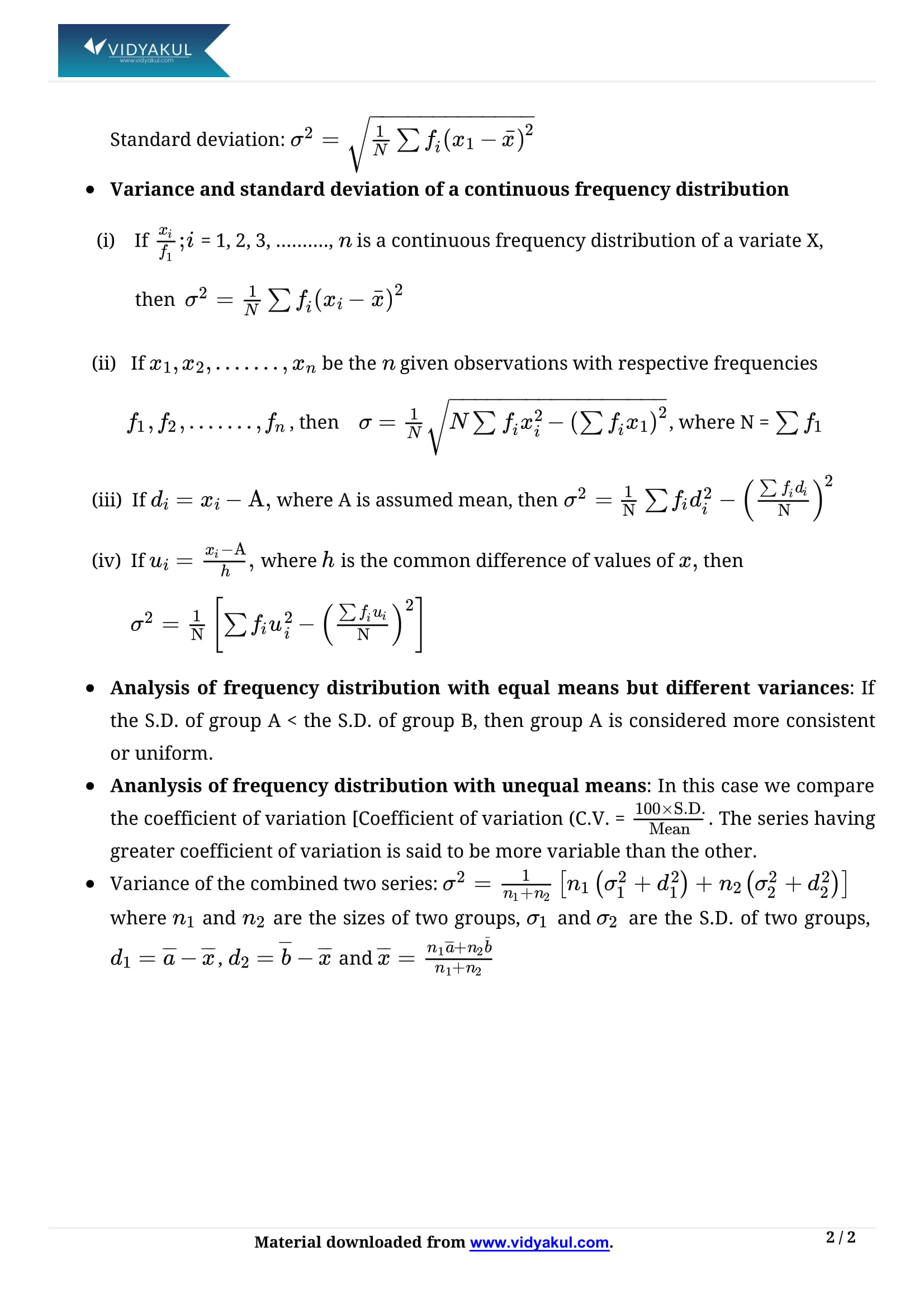 Statistics Class 11 Formulas & Notes | Vidyakul