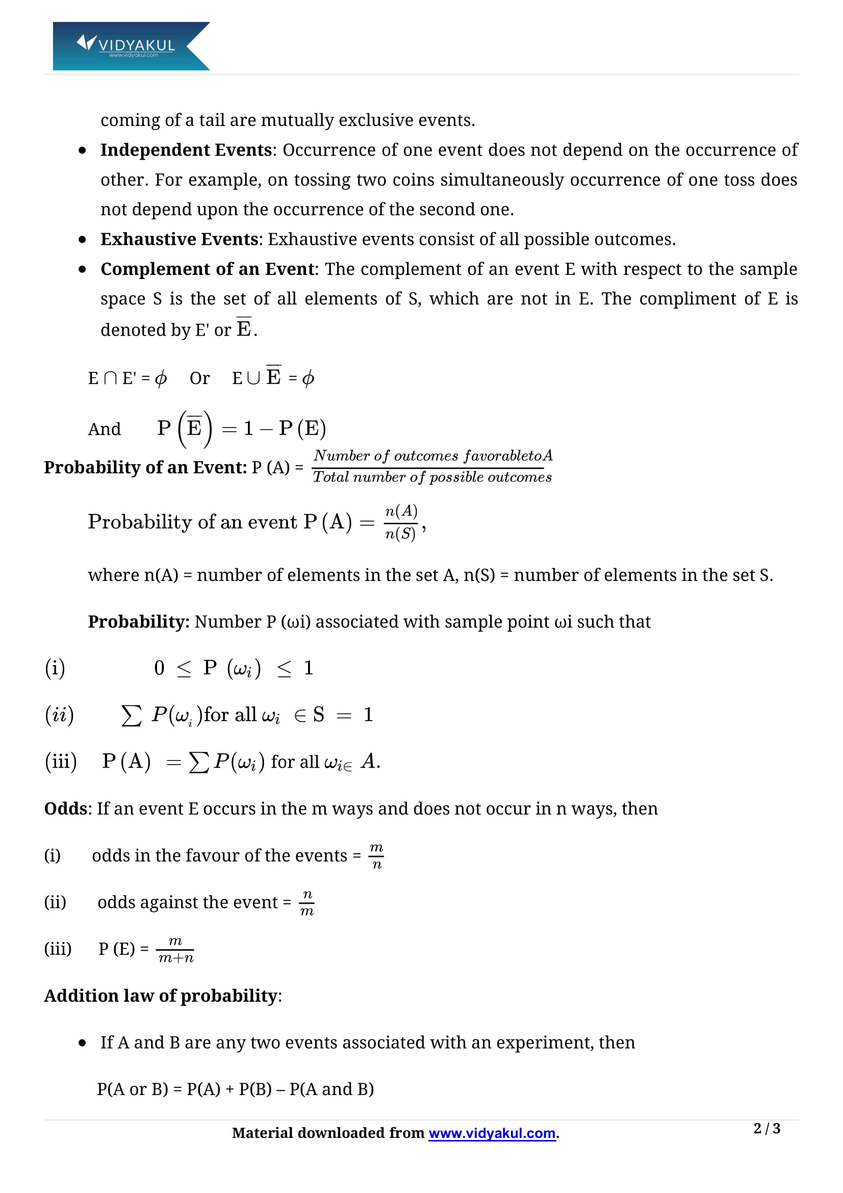 Probability Class 11 Formulas & Notes | Vidyakul
