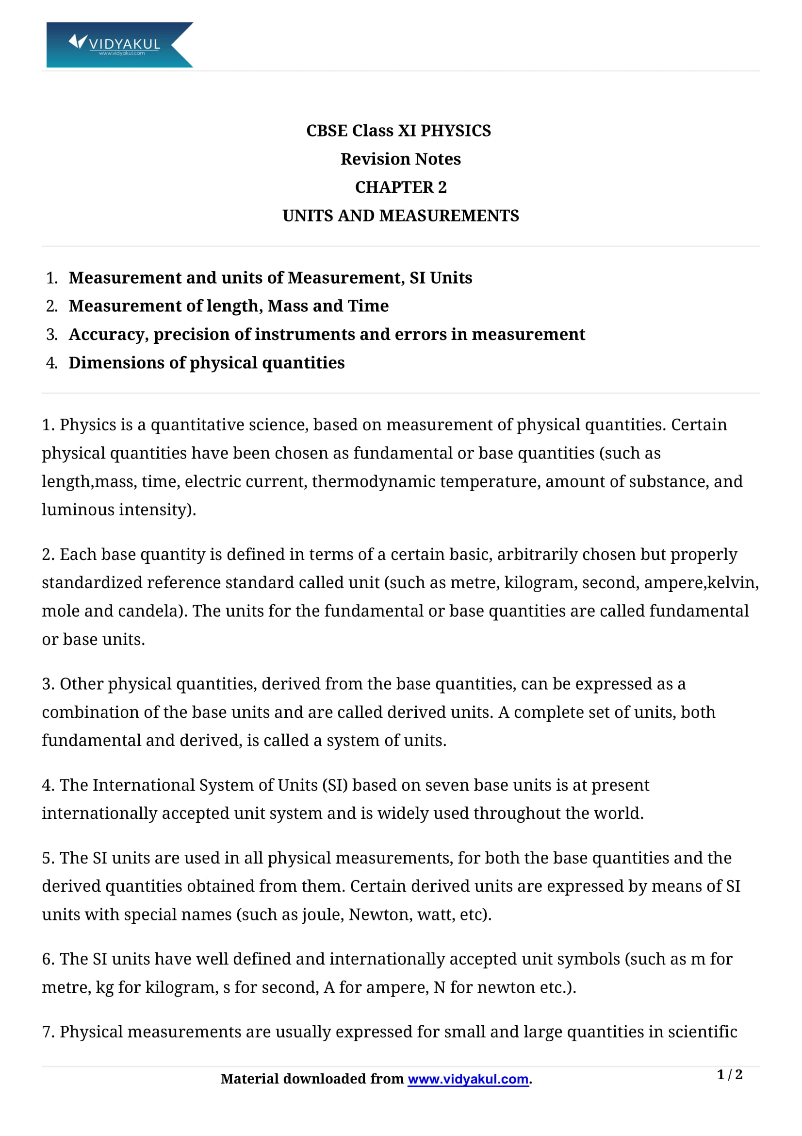 Class 11 Physics Chapter 2 Units and Measurement Notes | Vidyakul