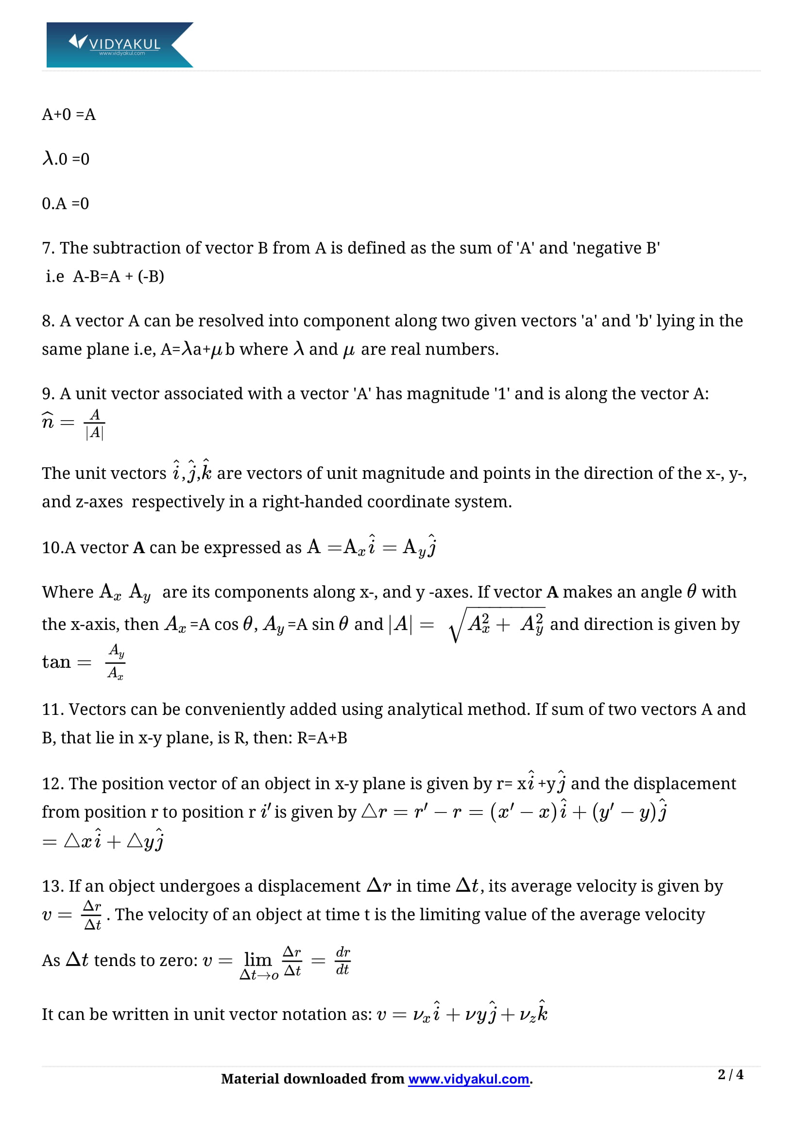 Class 11 Physics Chapter 4 Motion in a Plane Notes   Vidyakul