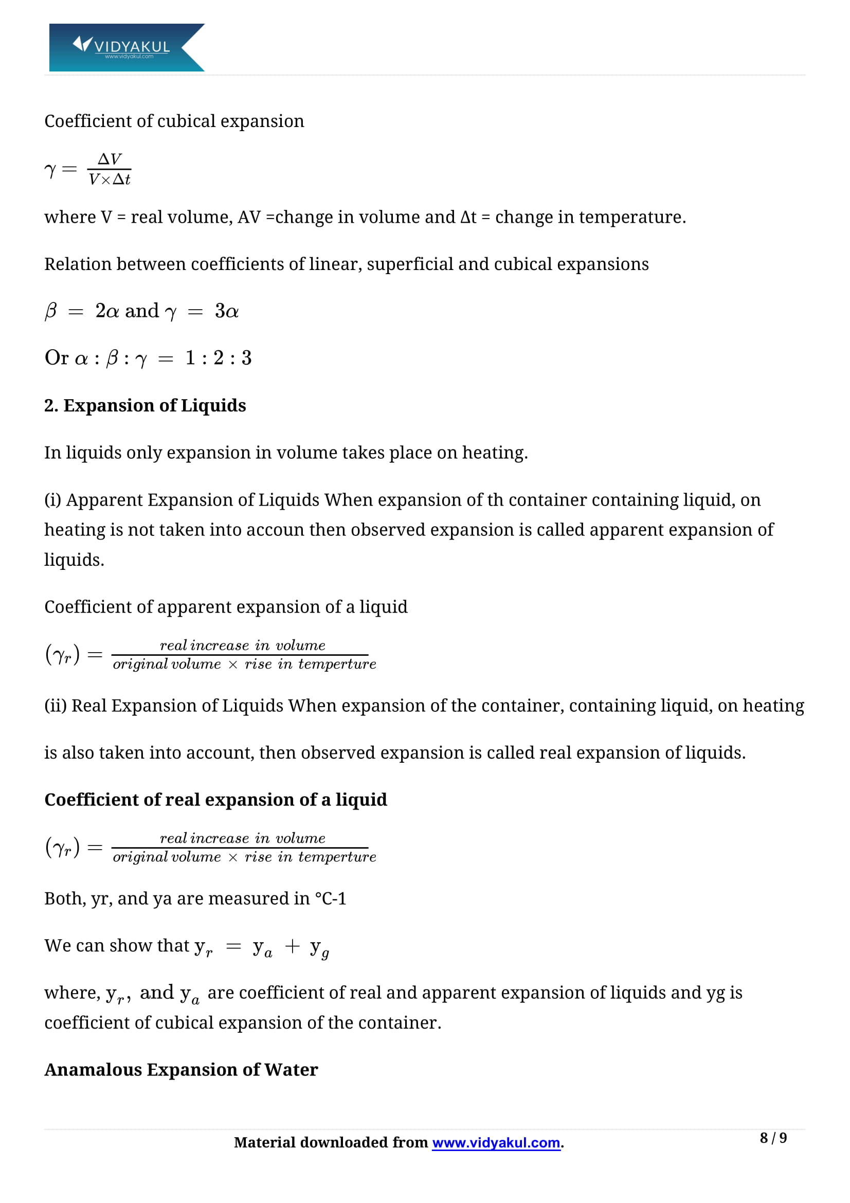 Thermal Properties Of Matter Class 11 Physics Notes Part