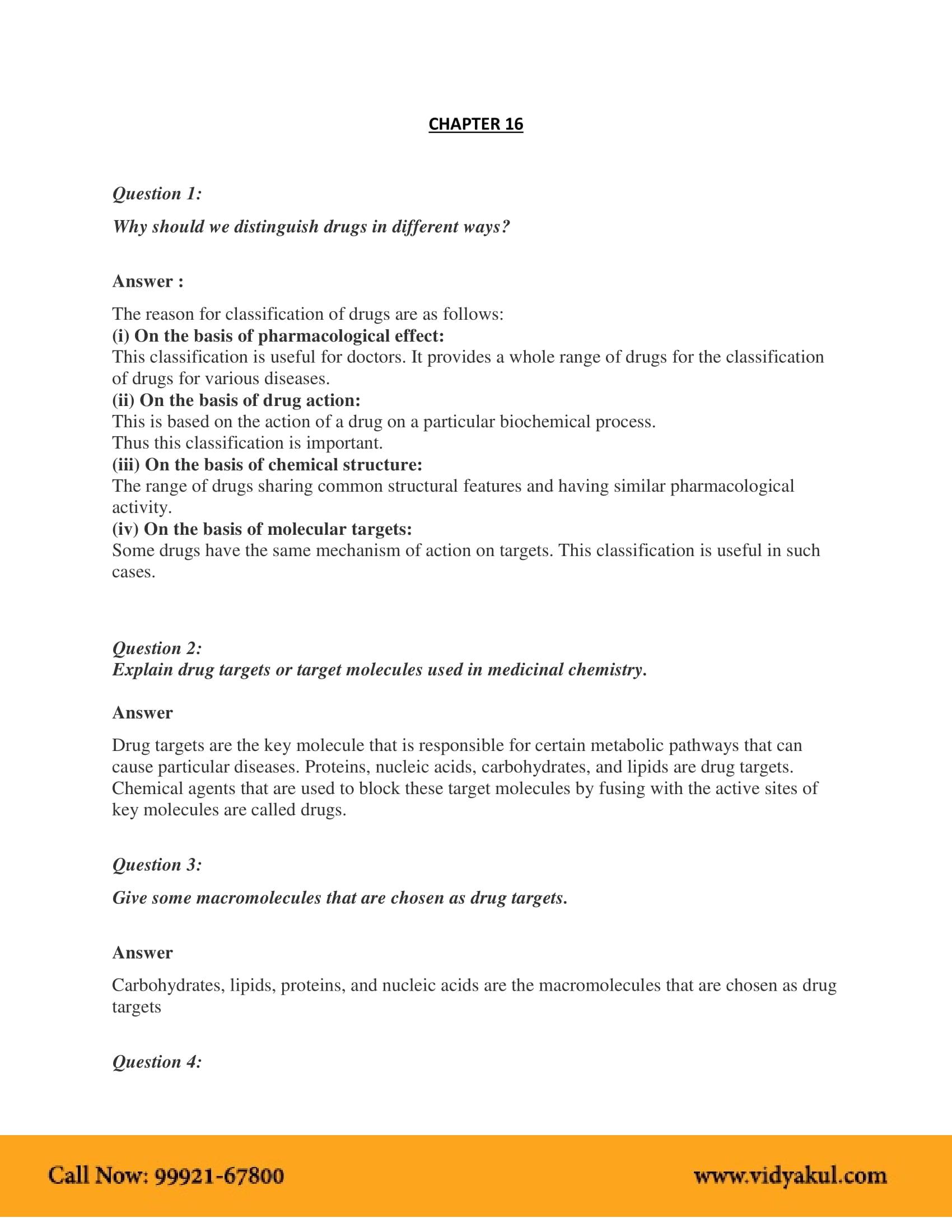 NCERT Solution Class 12 Chemistry Chapter 16 | Vidyakul