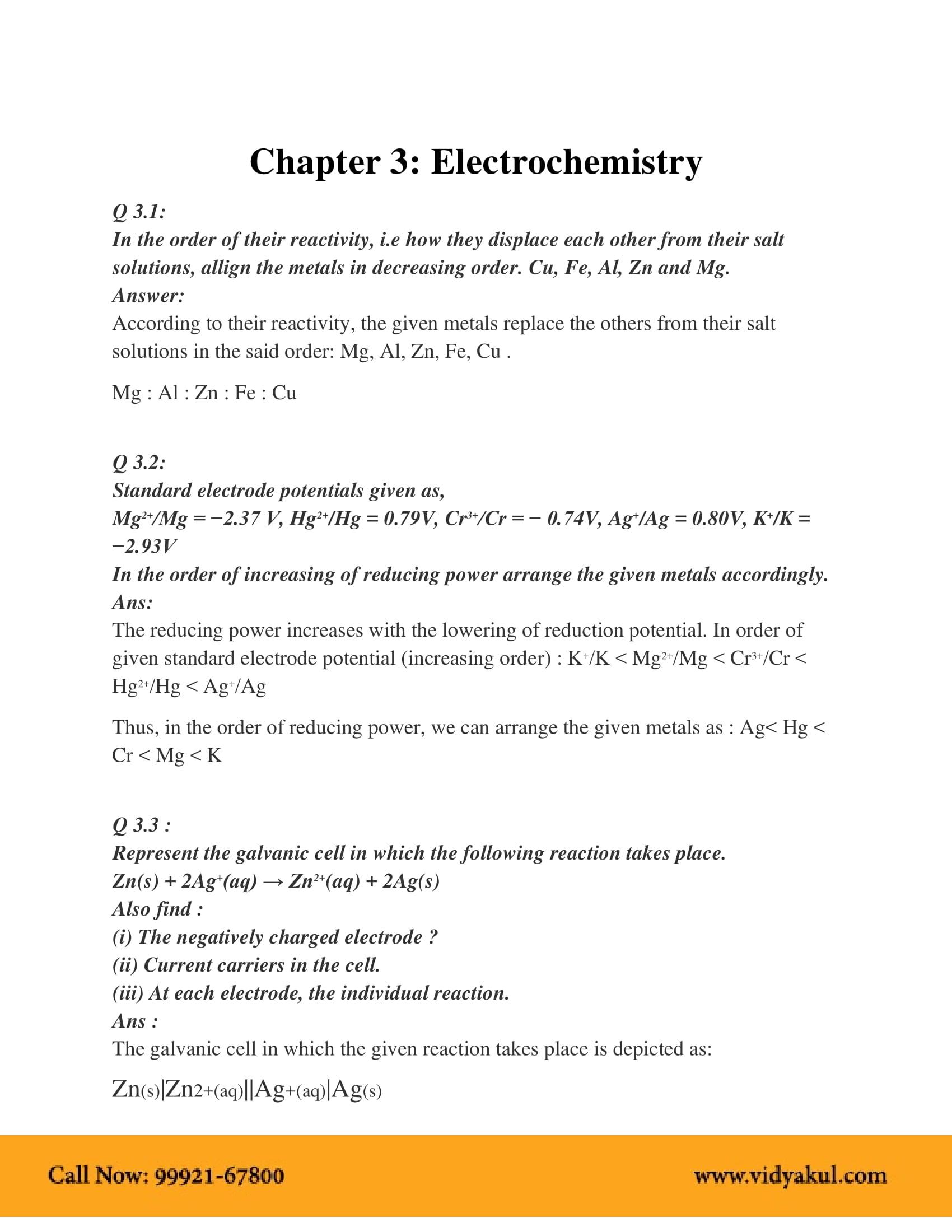 NCERT Solution Class 12 Chemistry Chapter 3 | Vidyakul