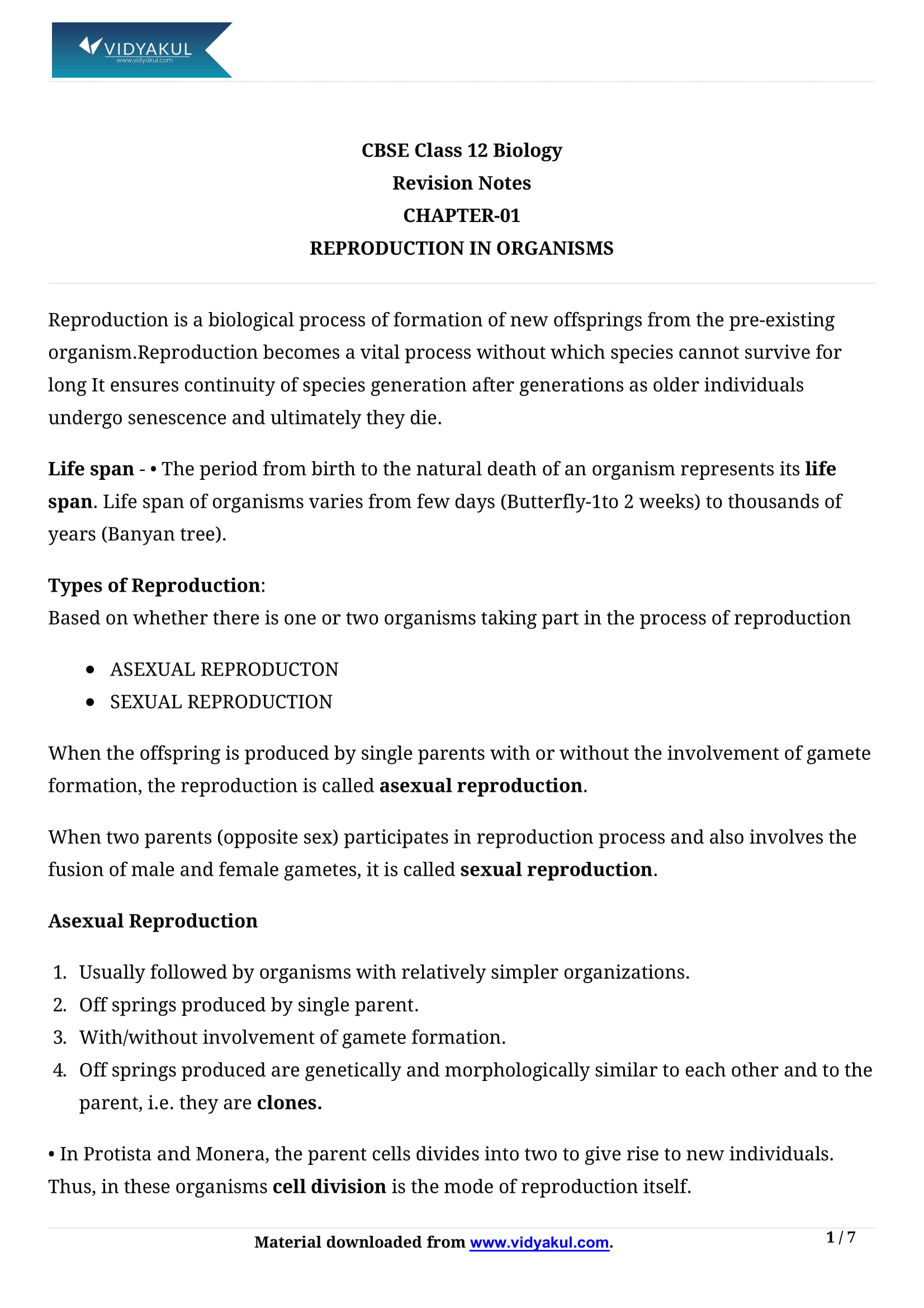 Reproduction in Organism Class 12 Notes | Vidyakul