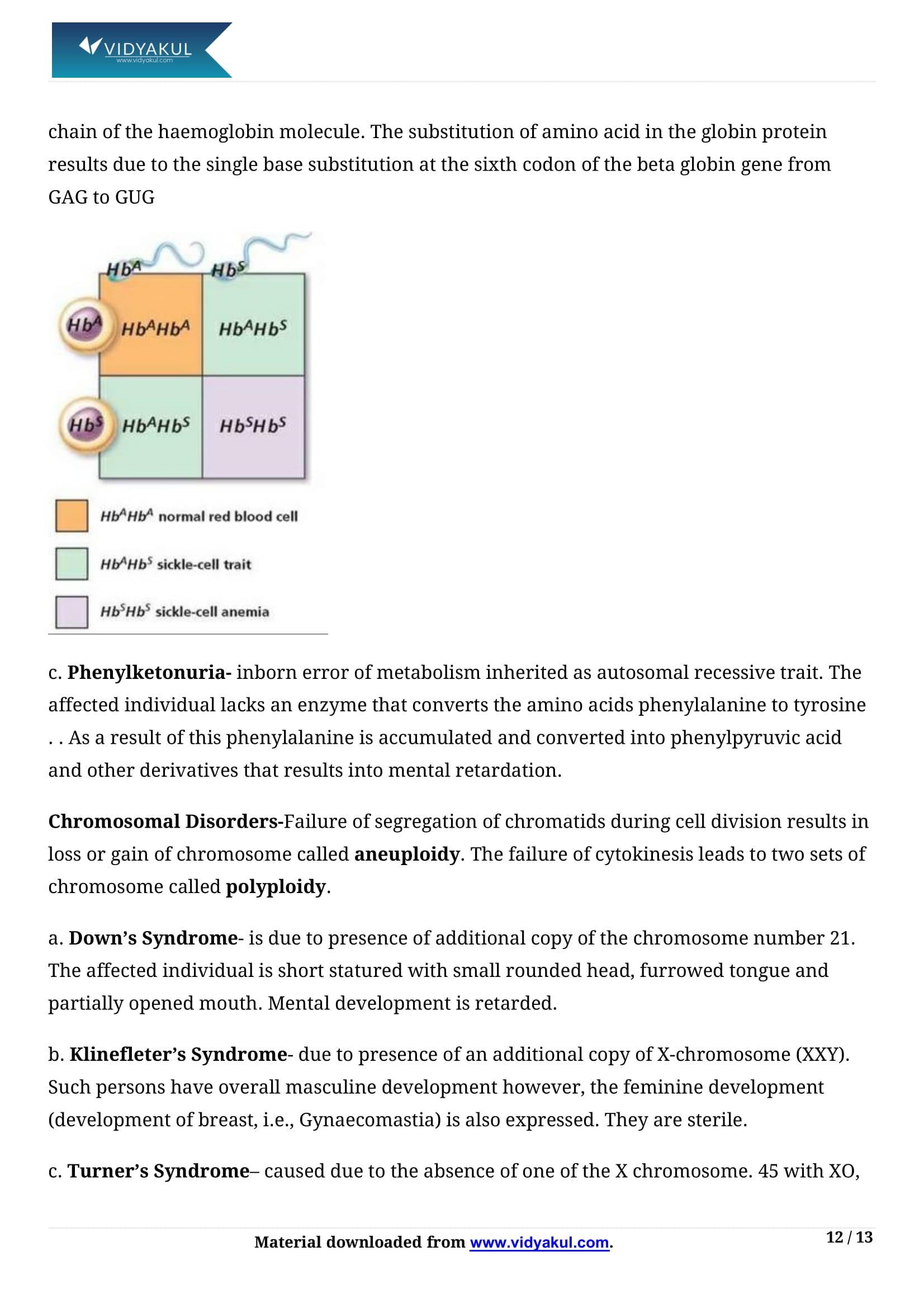 Principles of Inheritance and Variation Class 12 Notes | Vidyakul