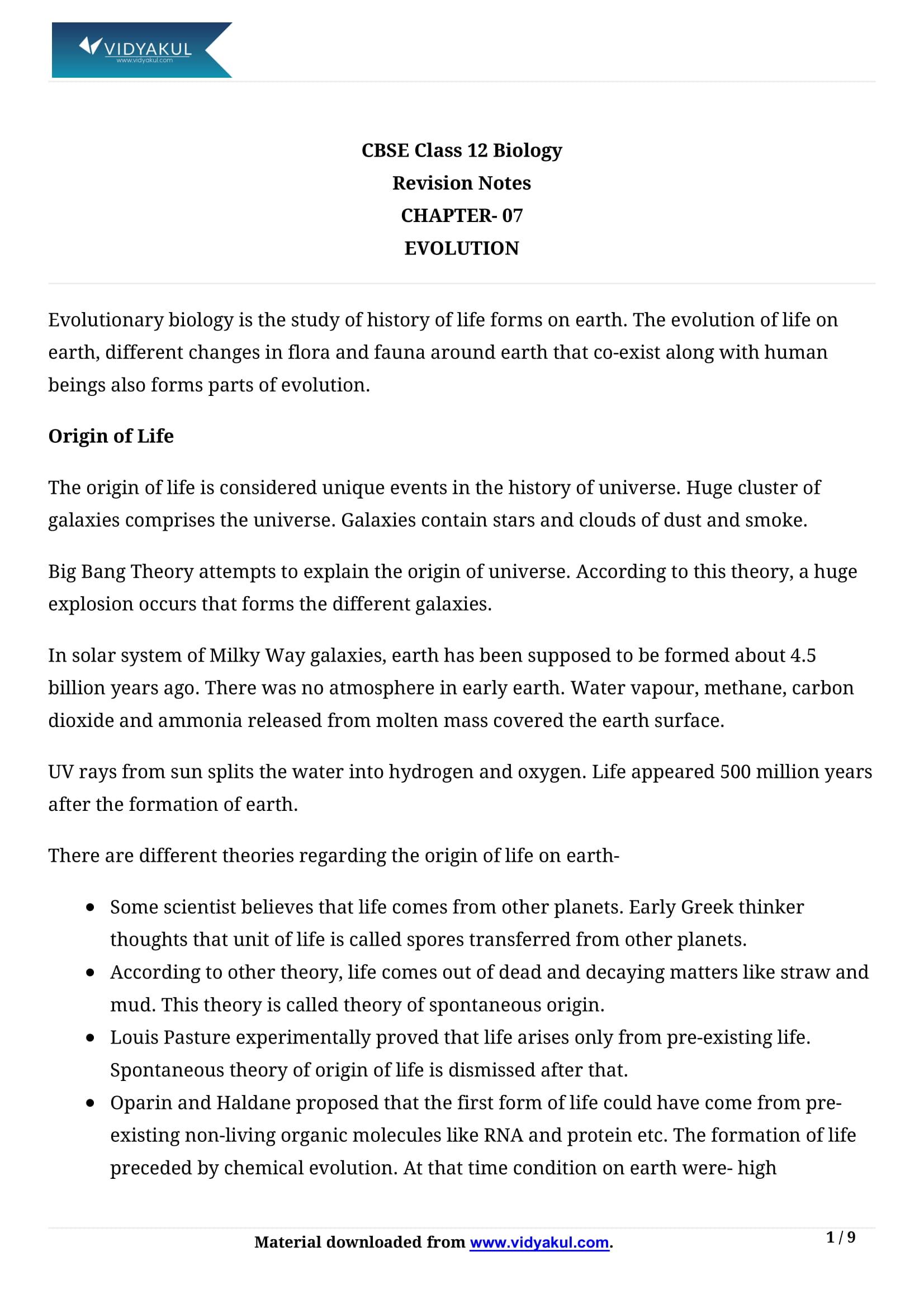 Evolution Class 12 Notes | Vidyakul