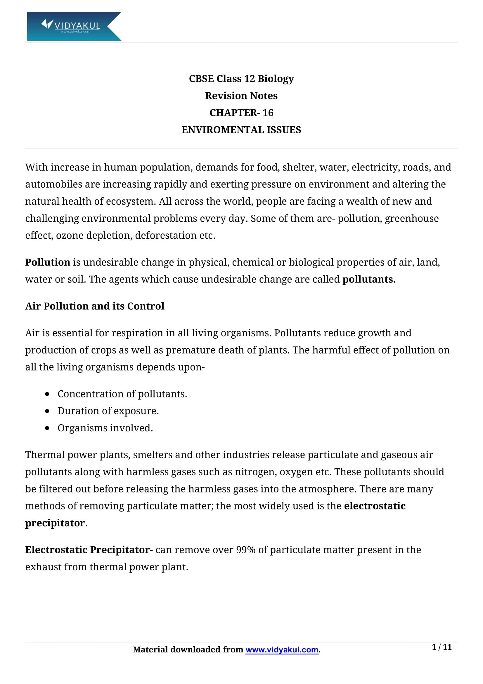 Environmental Issues Class 12 Notes | Vidyakul