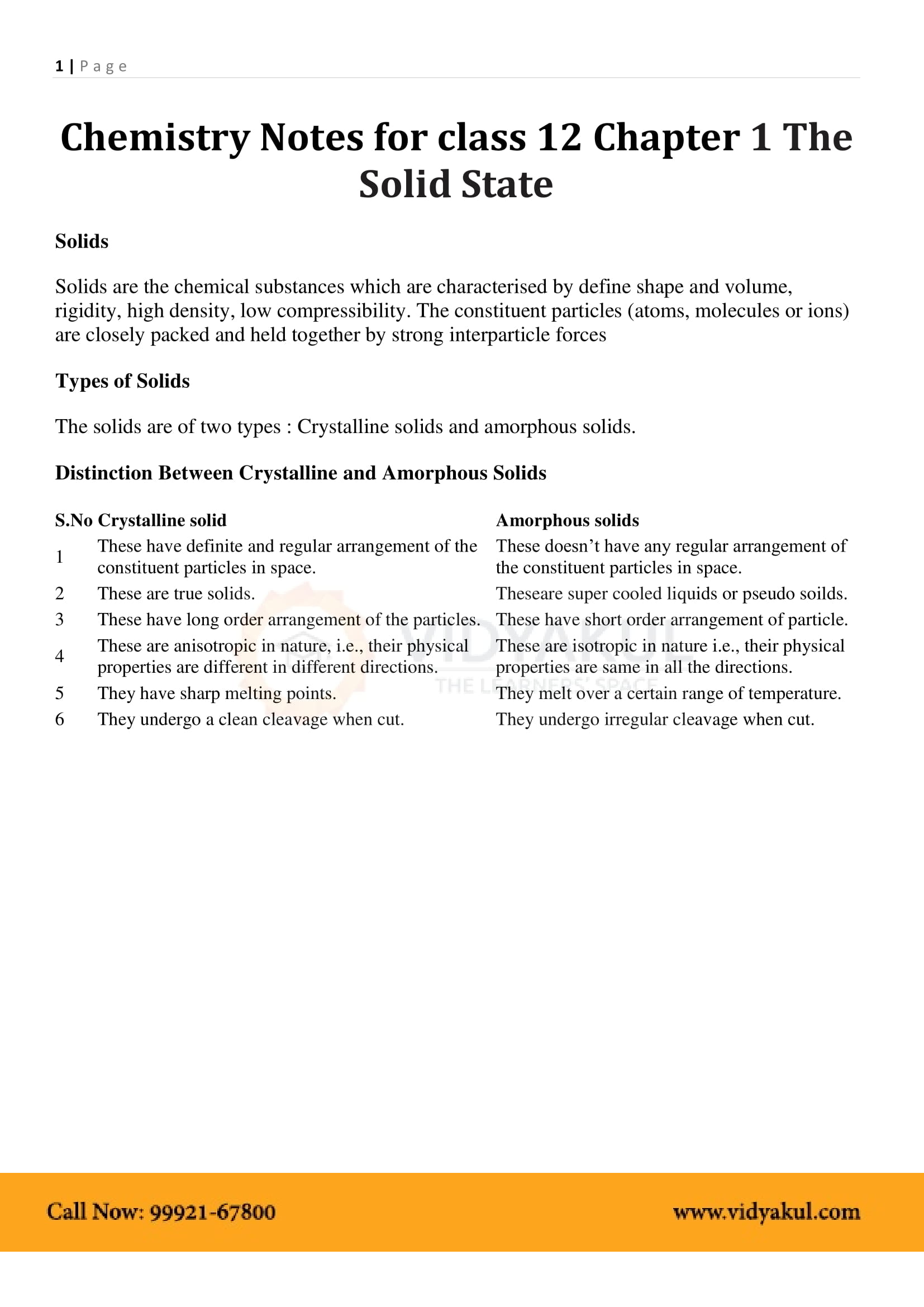 Solid State Class 12 Notes | Vidyakul