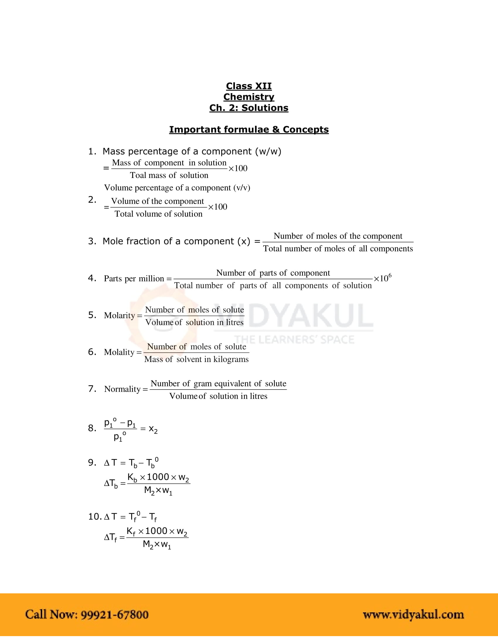 Solutions Class 12 Notes | Vidyakul