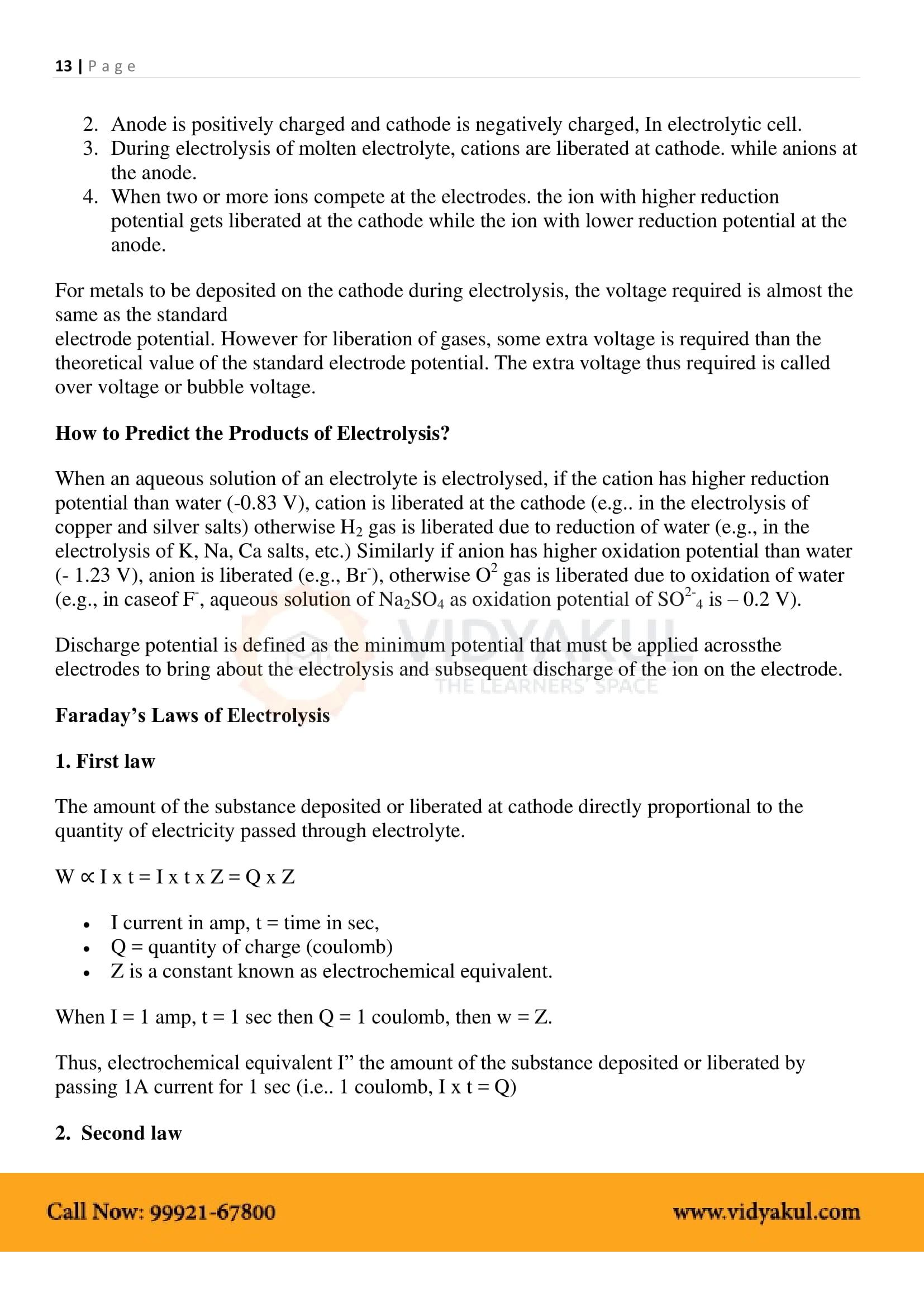 Electrochemistry Class 12 Notes | Vidyakul