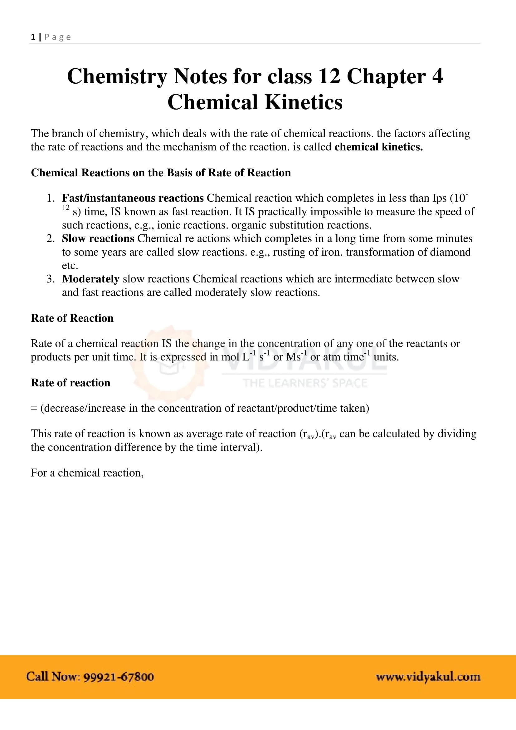 Chemical Kinetics Class 12 Notes | Vidyakul
