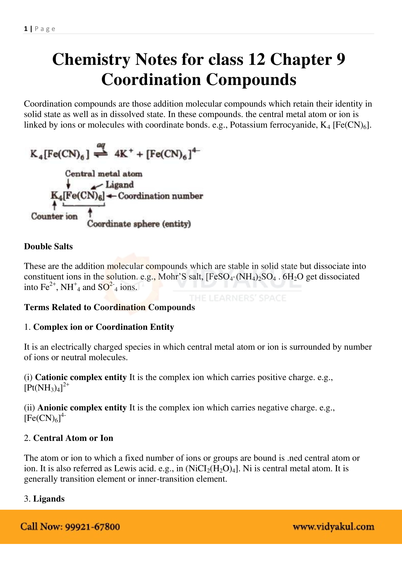 Coordination Compounds Class 12 Notes | Vidyakul