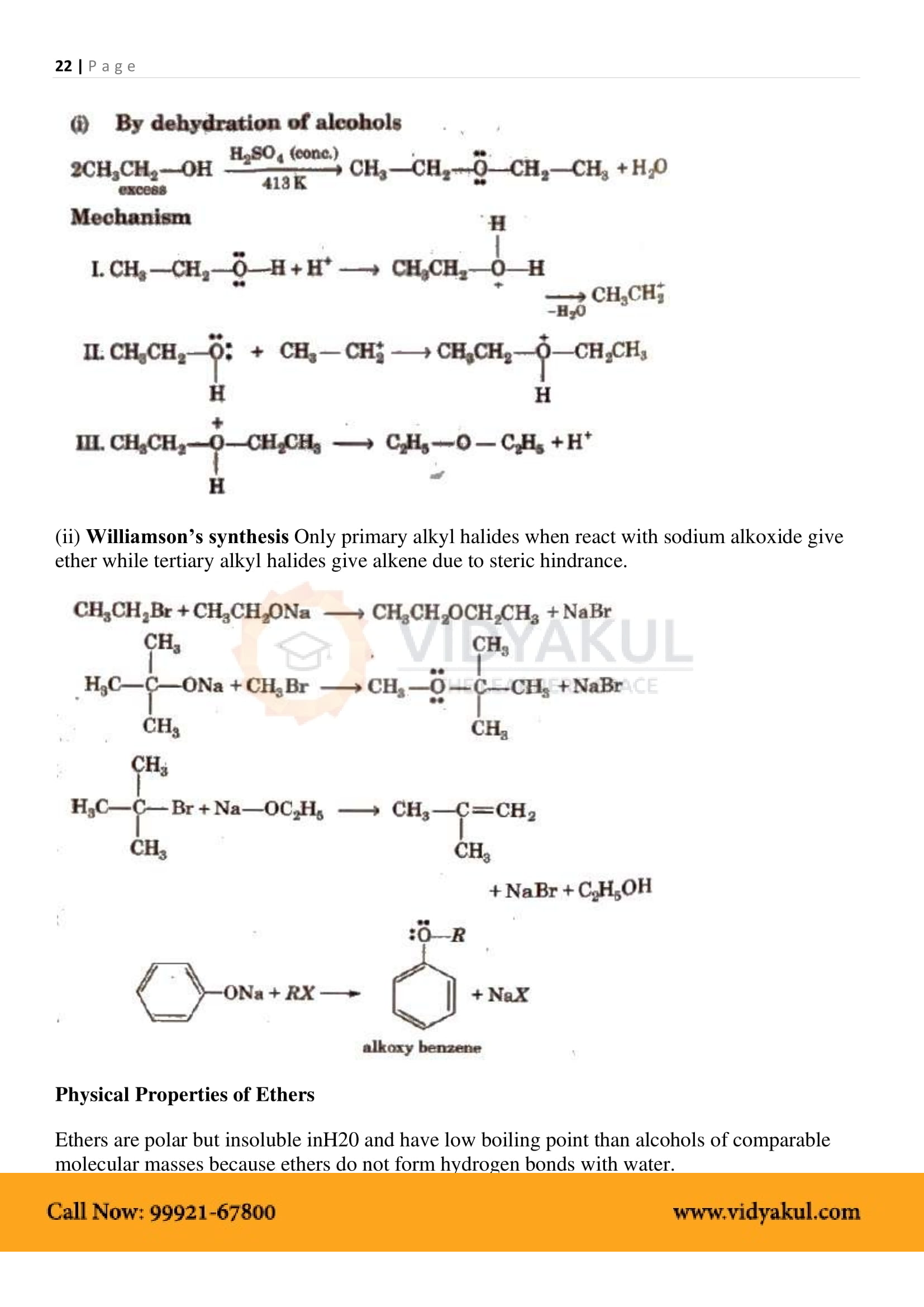 Alcohols, Phenols and Ethers Class 12 Notes | Vidyakul