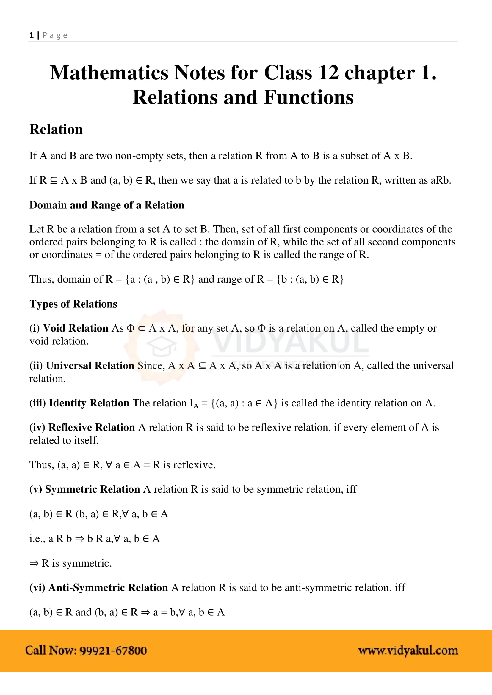 Relations and Functions Class 12 Notes | Vidyakul