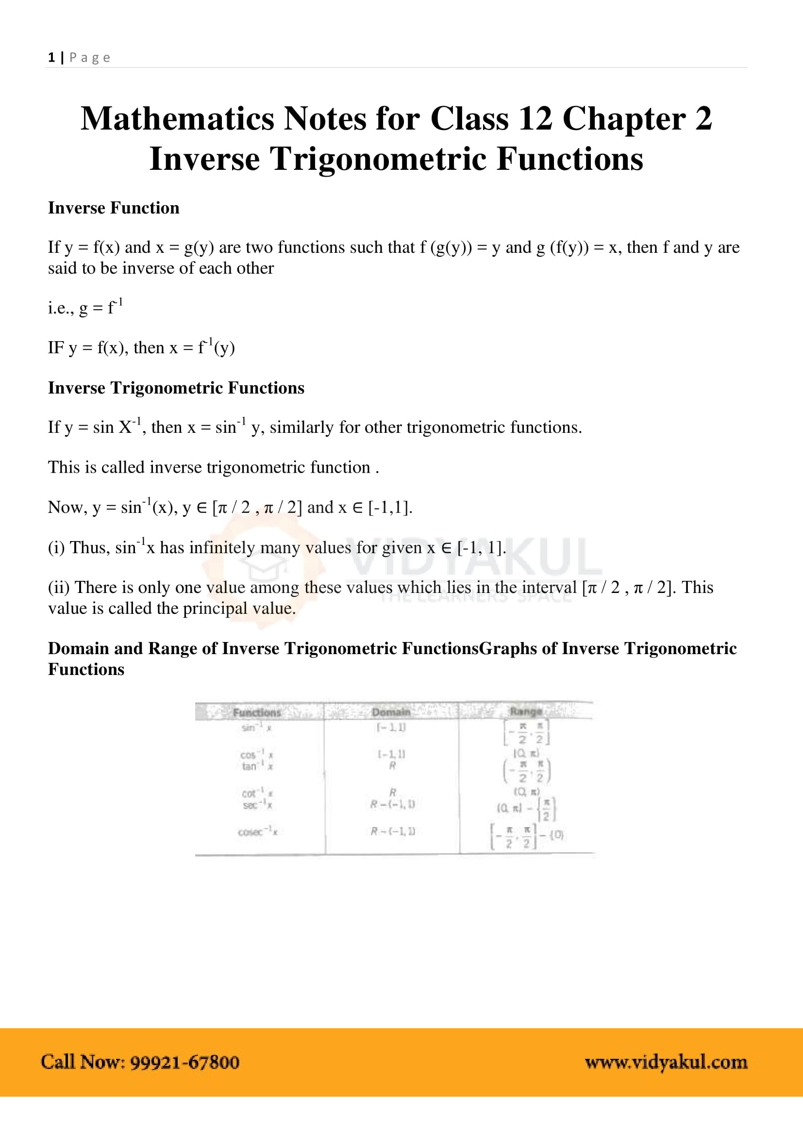 Inverse Trigonometric Functions Class 12 Formulas and Notes