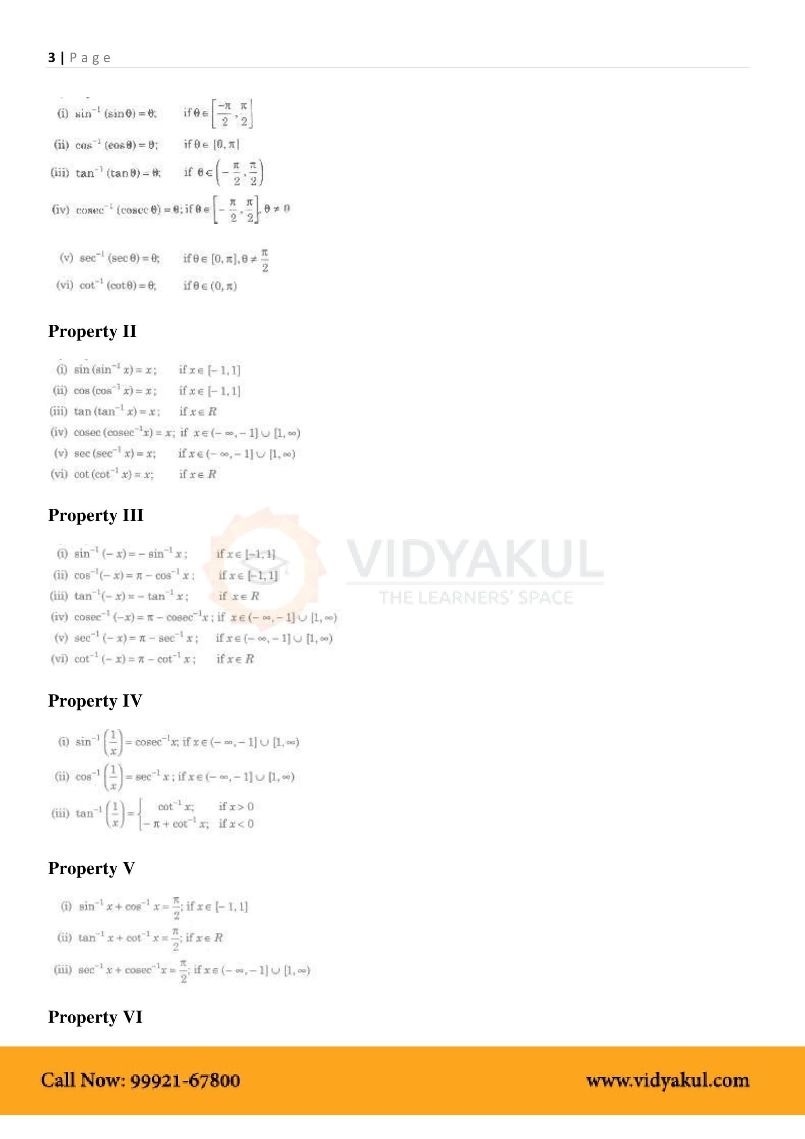 Inverse Trigonometric Functions Class 12 Formulas and Notes