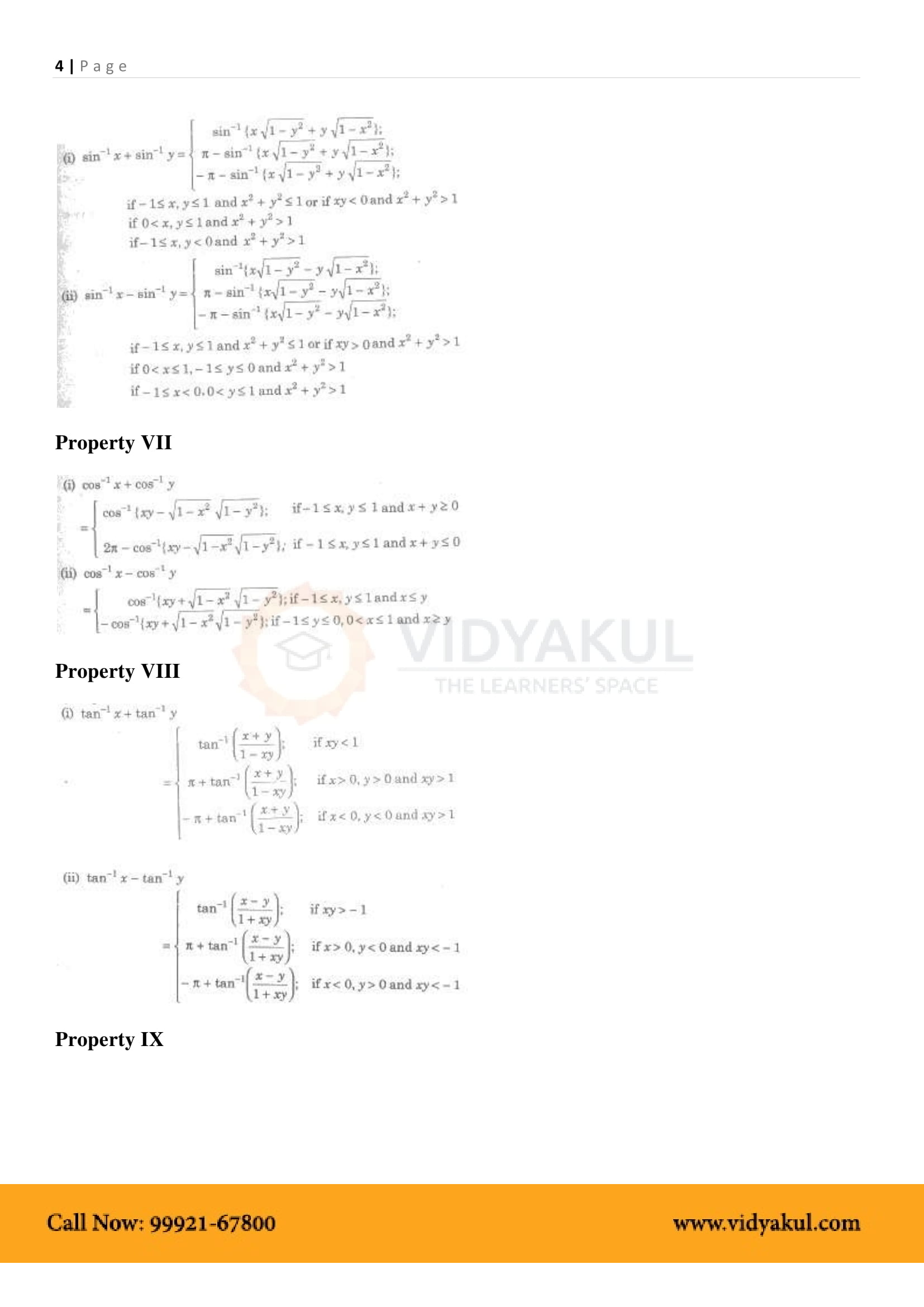 Inverse Trigonometric Functions Class 12 Formulas and Notes   Vidyakul