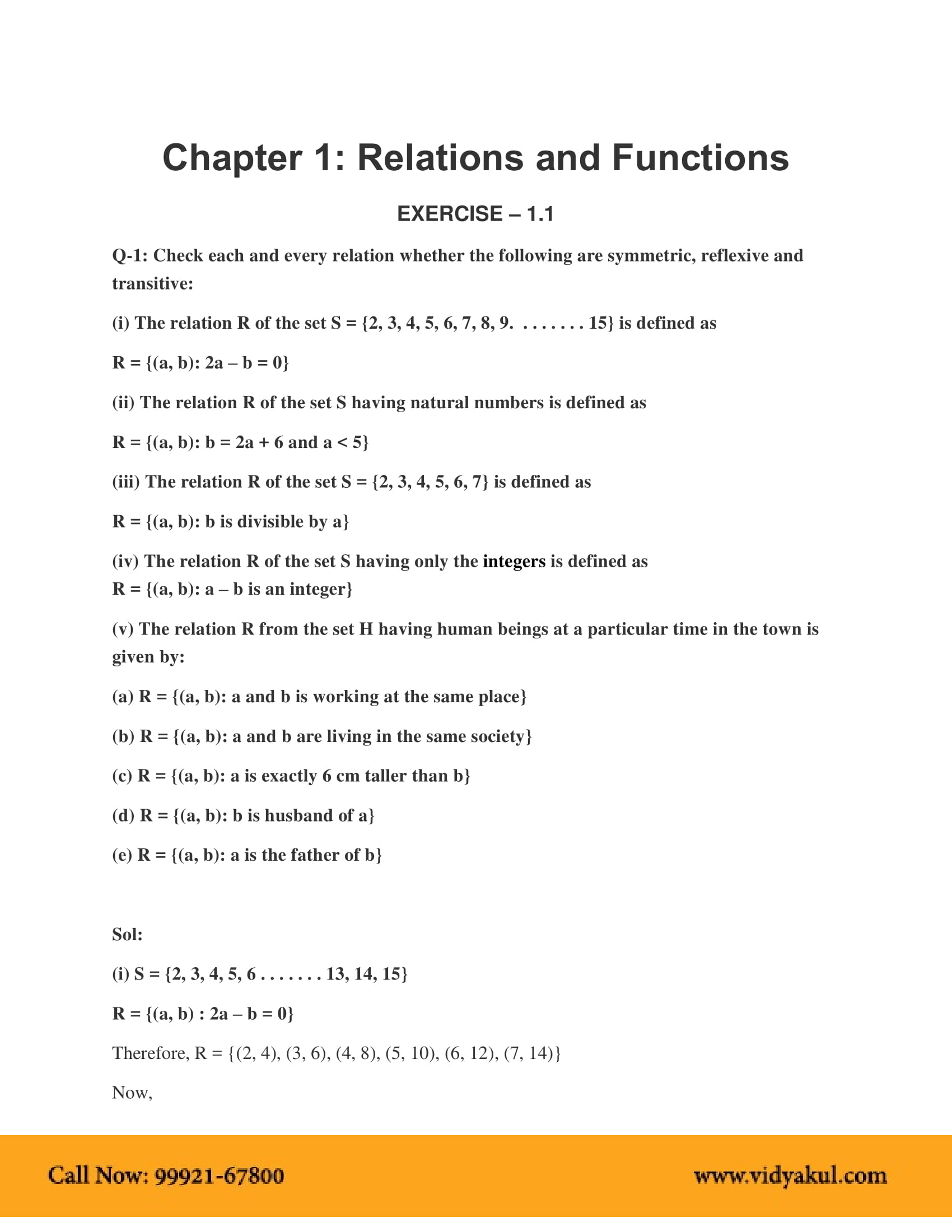 Relation And Function Class 12 Ncert Solution Pdf