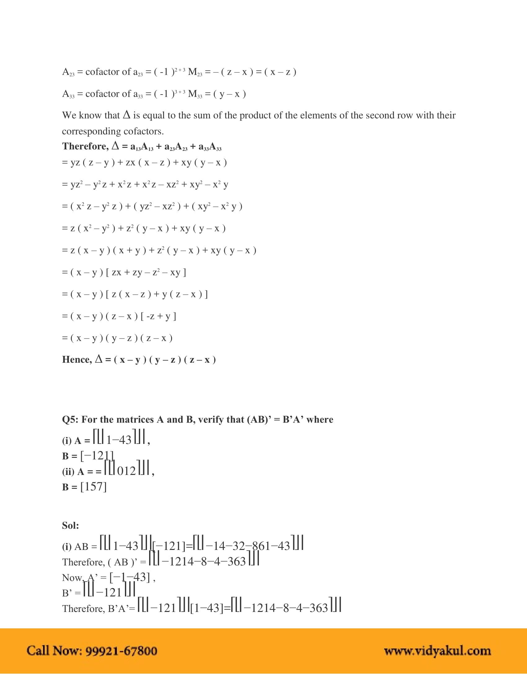 NCERT Solutions for Class 12 Maths Chapter 4   Vidyakul