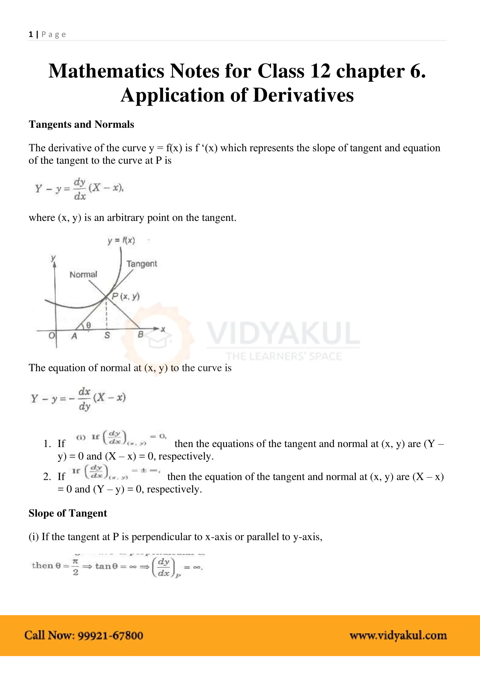 application of derivatives tangent and normal pdf