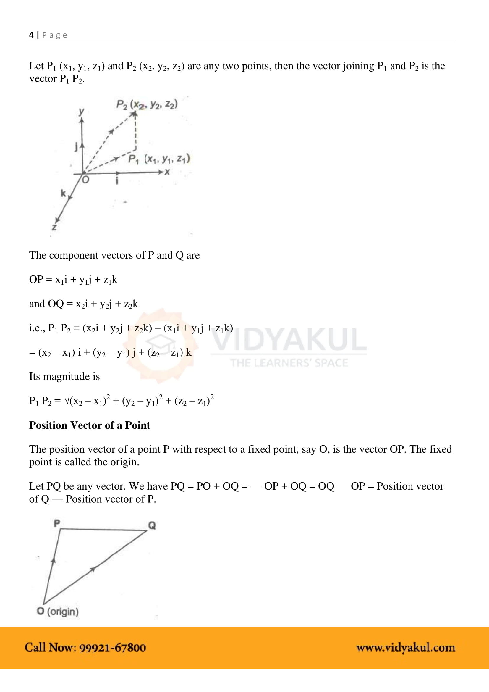 Vector Algebra Class 12 Formulas PDF with Notes | Vidyakul