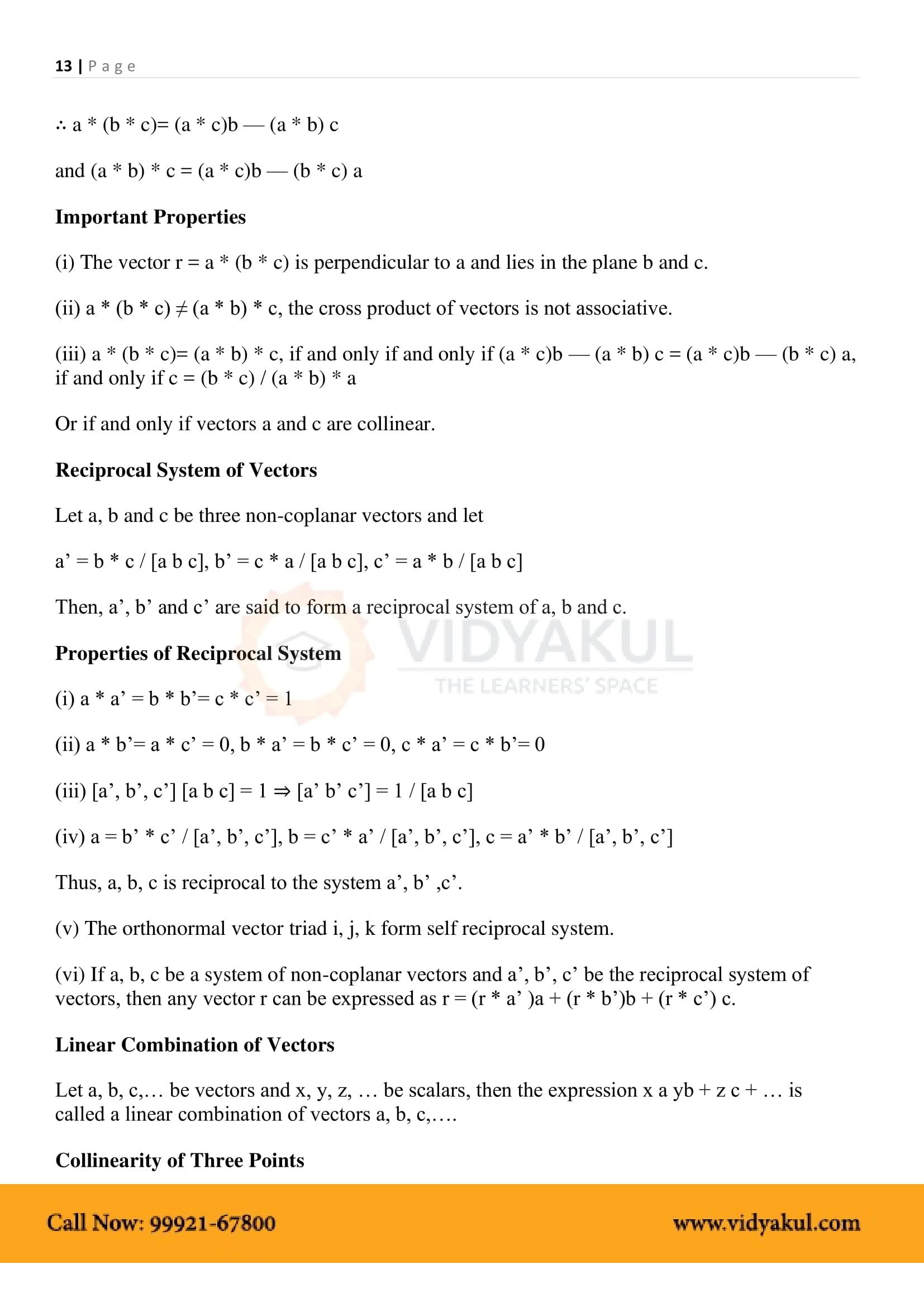 Vector Algebra Class 12 Formulas Pdf With Notes Vidyakul