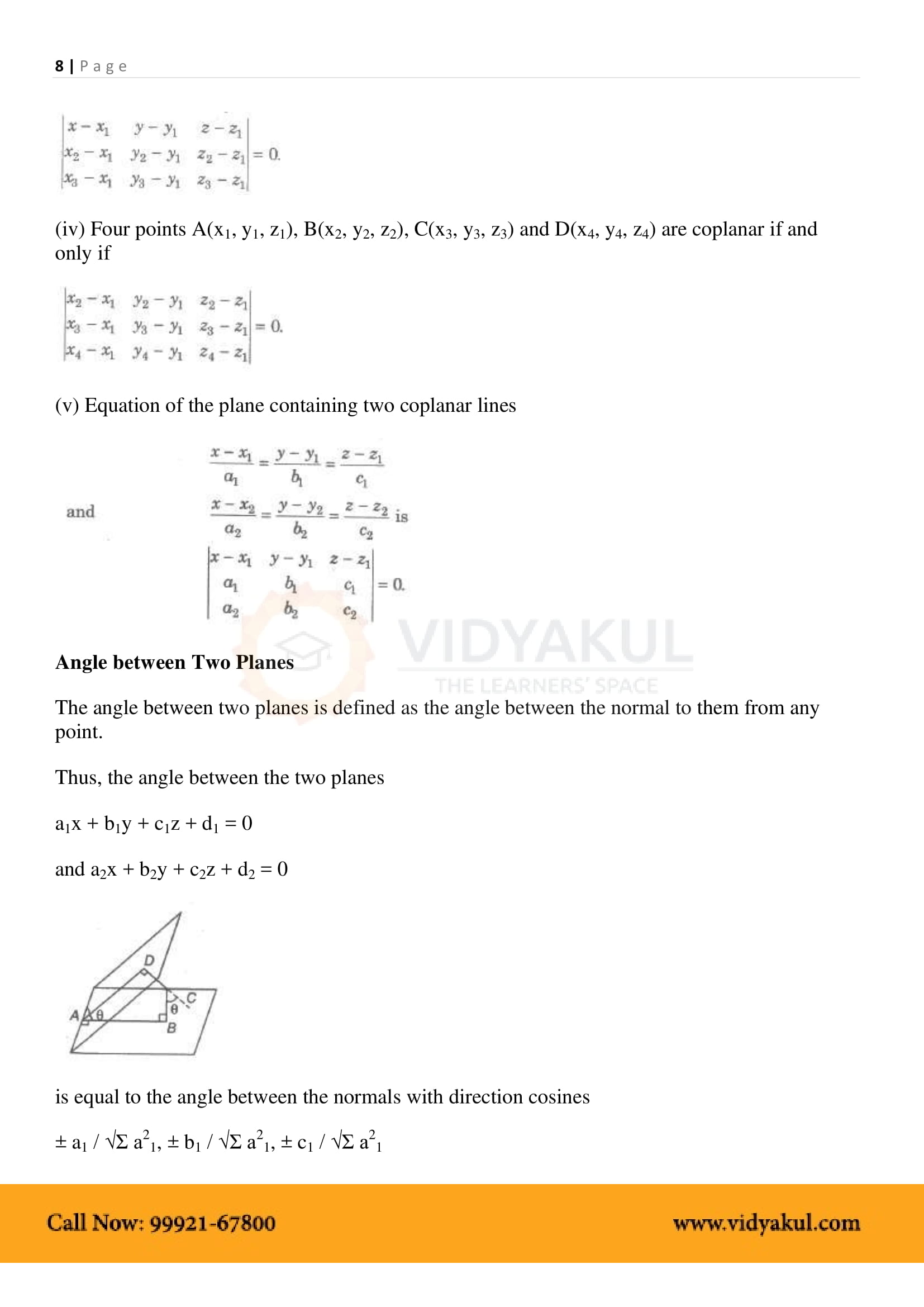 Three Dimensional Geometry Class 12 Notes   Vidyakul