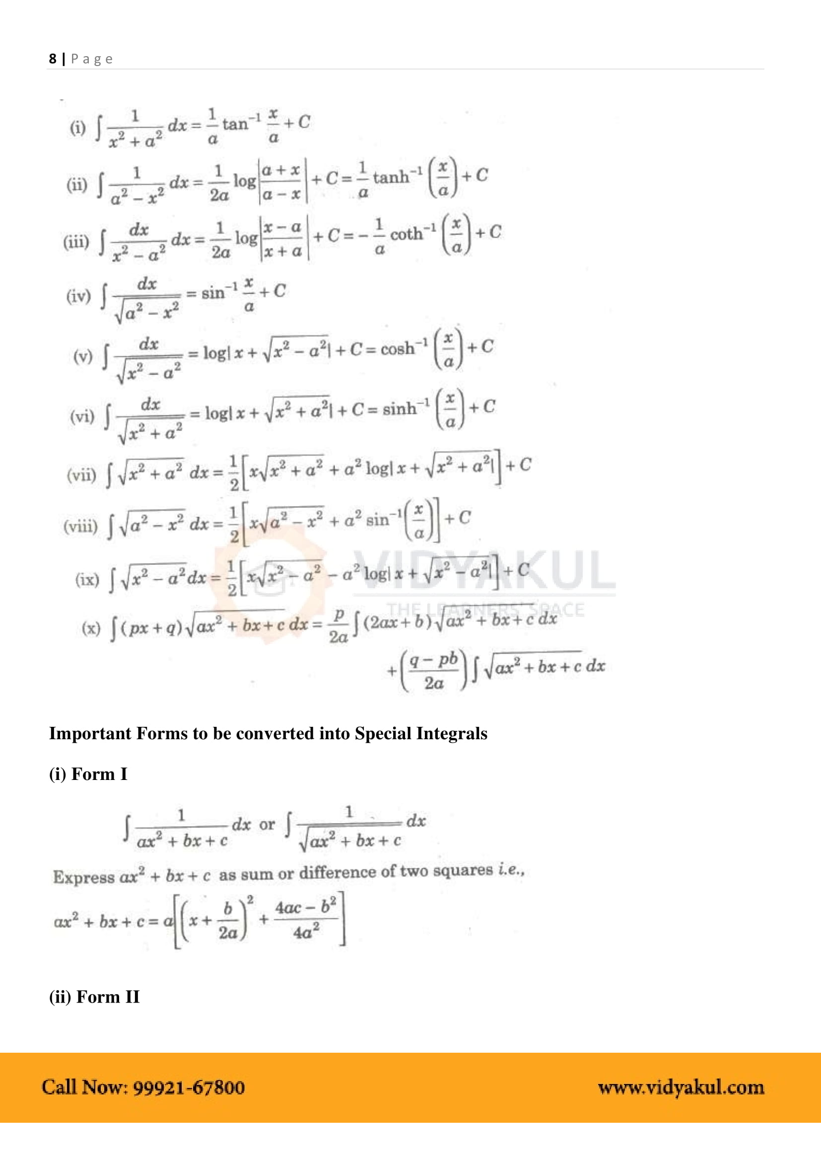 Integrals Class 12 Formulas PDF with Notes | Vidyakul