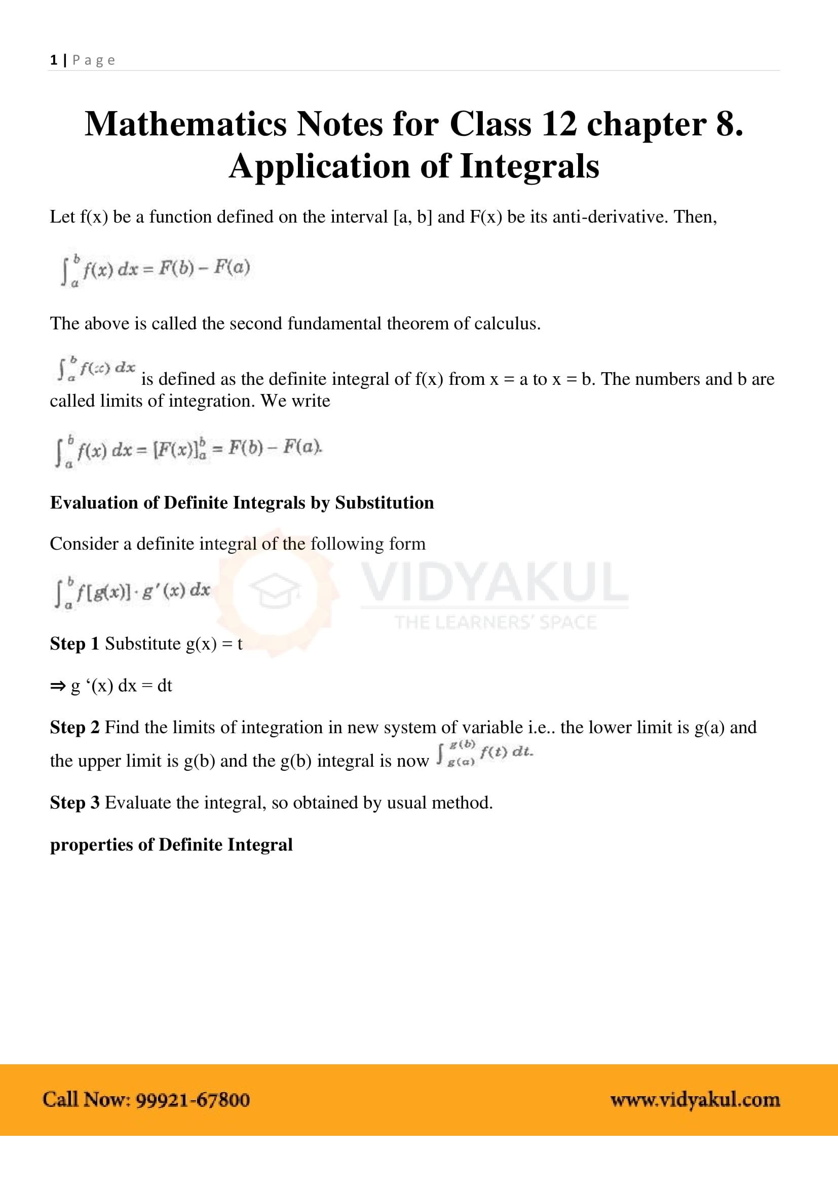 Application of Integrals Class 12 Notes | Vidyakul