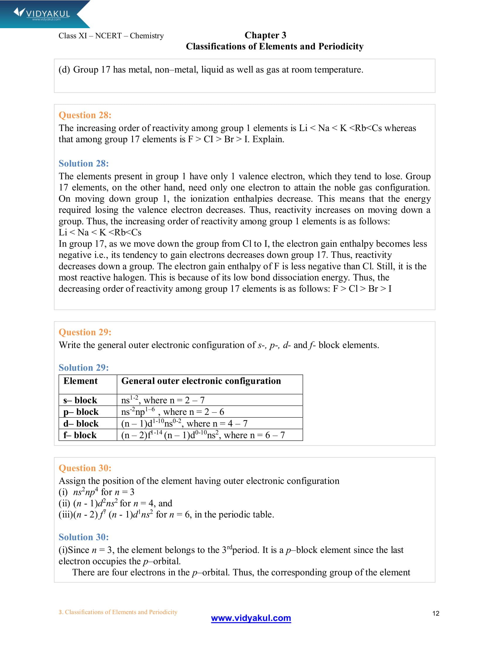 NCERT Solutions Class 11 Chemistry Chapter 3 | Vidyakul