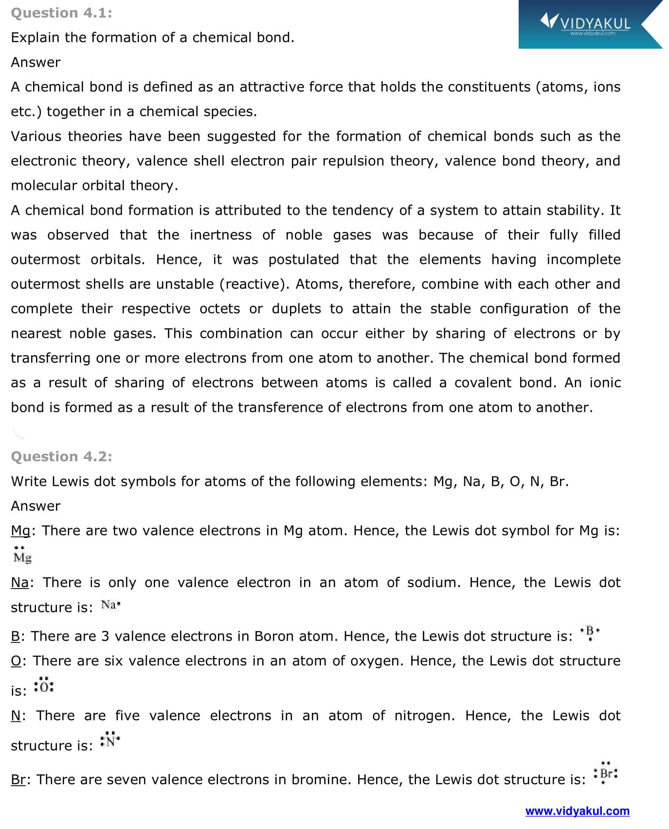 NCERT Solutions Class 11 Chemistry Chapter 4   Vidyakul