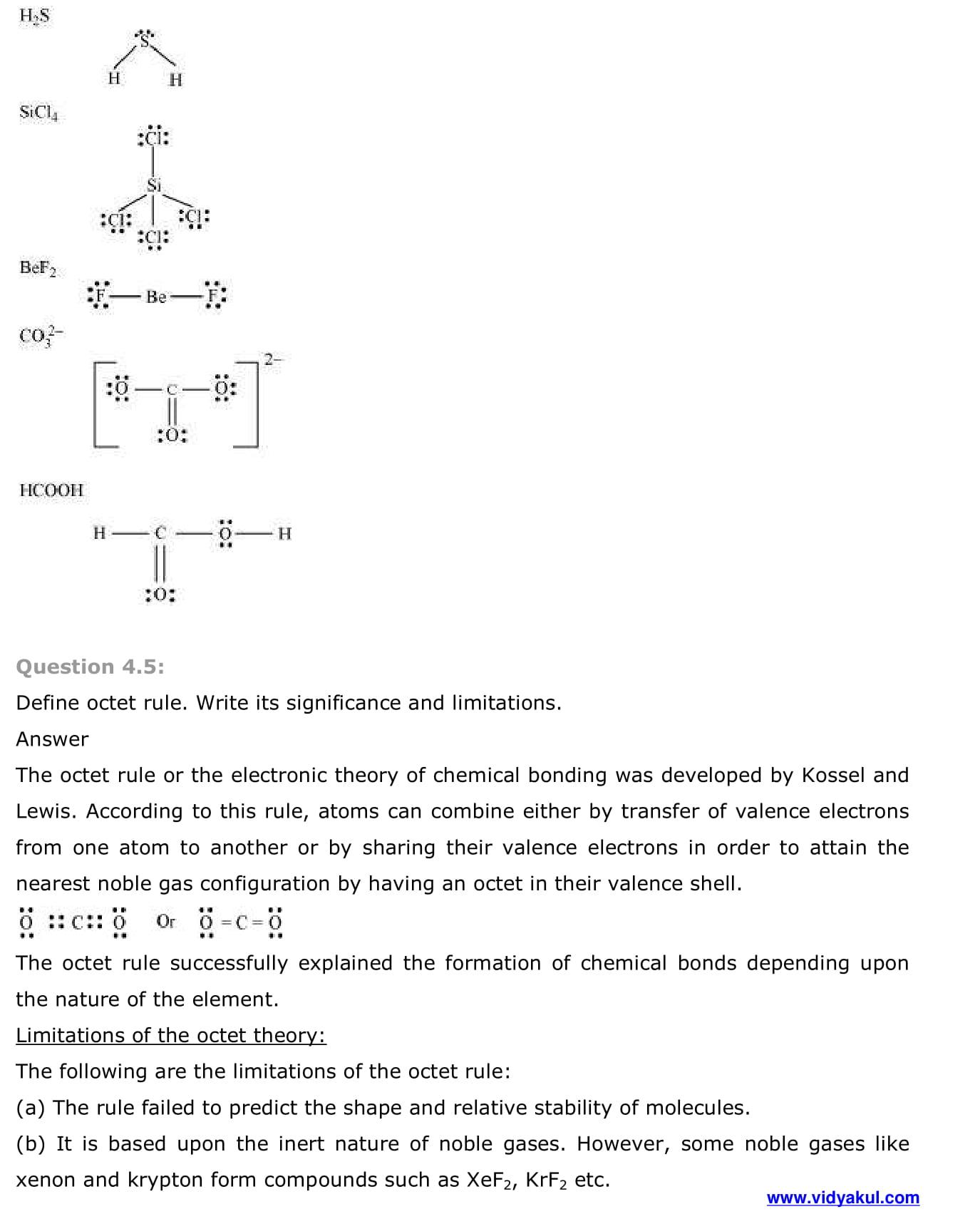NCERT Solutions Class 11 Chemistry Chapter 4 | Vidyakul