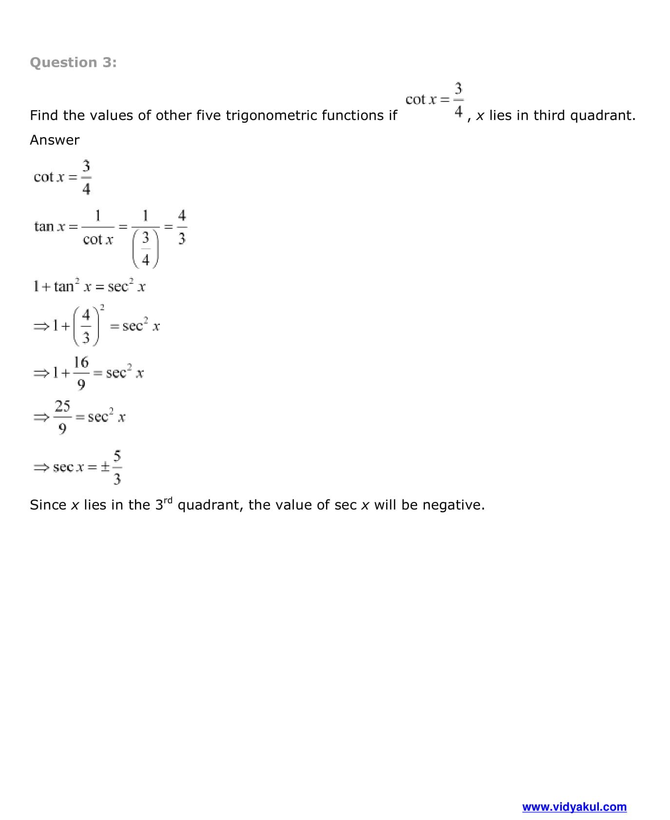 NCERT Solutions Class 11 Maths Chapter 3 | Vidyakul