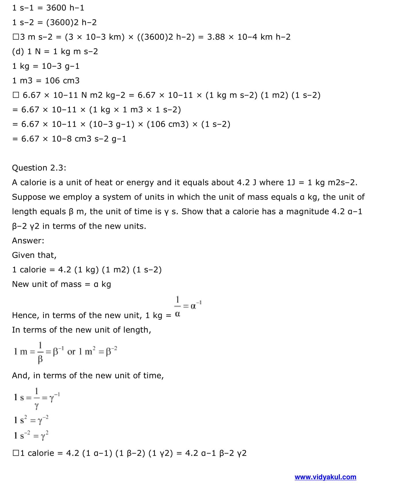 NCERT Solutions Class 11 Physics Chapter 2 | Vidyakul