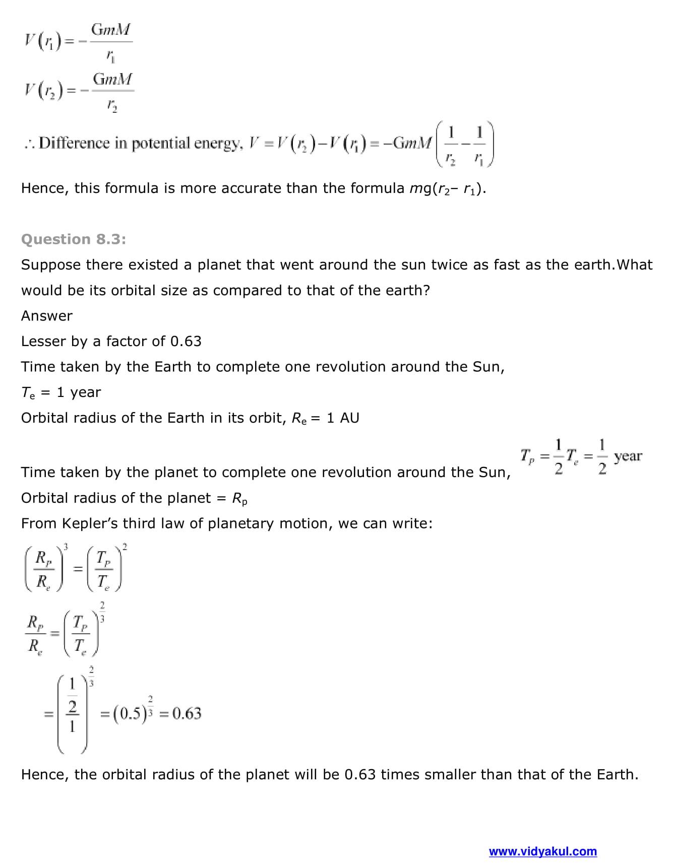 NCERT Solutions Class 11 Physics Chapter 8 | Vidyakul