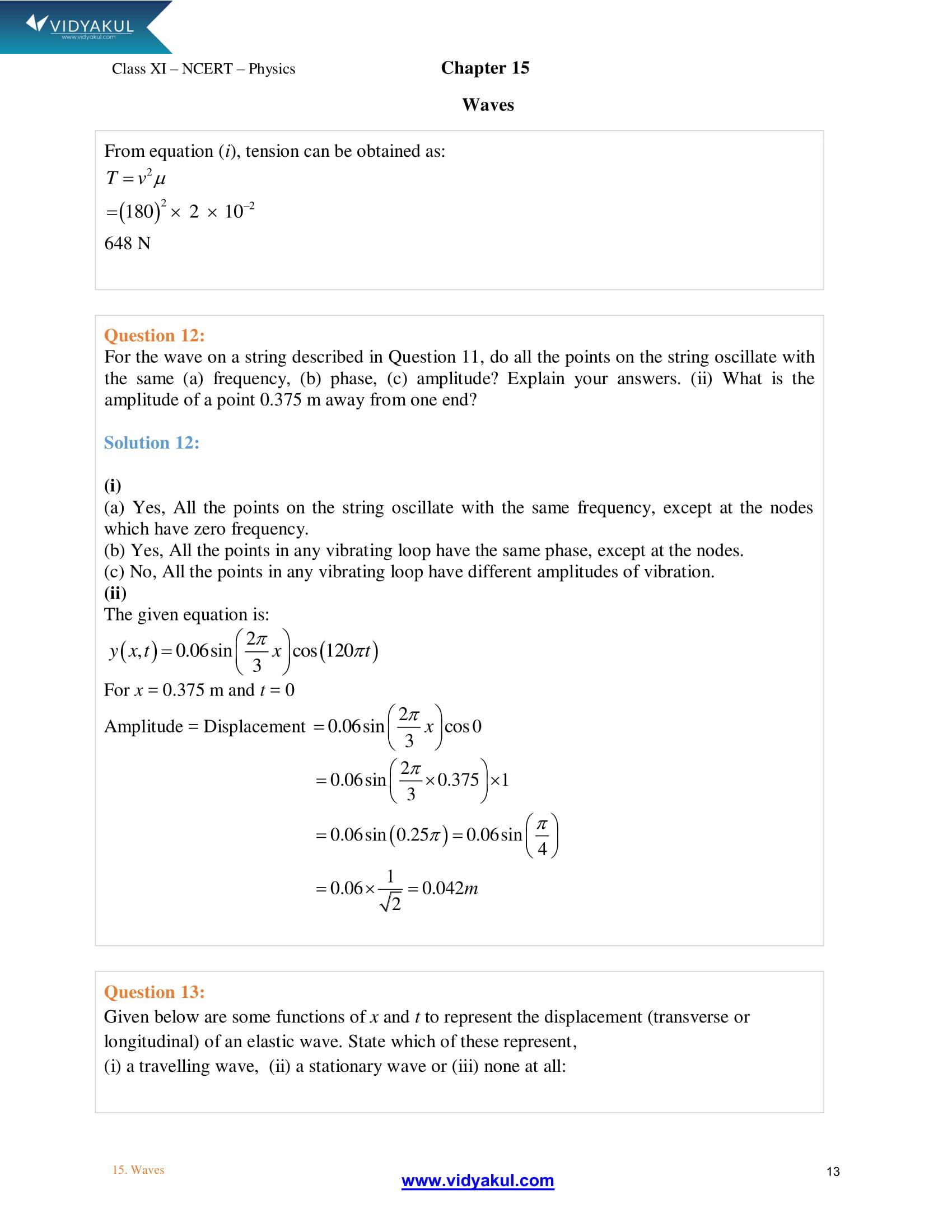 NCERT Solutions Class 11 Physics Chapter 15 | Vidyakul